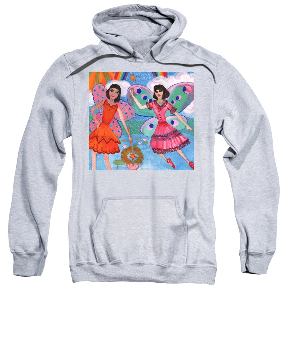 Sue Burgess Sweatshirt featuring the painting Detail Of Lily Pond Fairies by Sushila Burgess