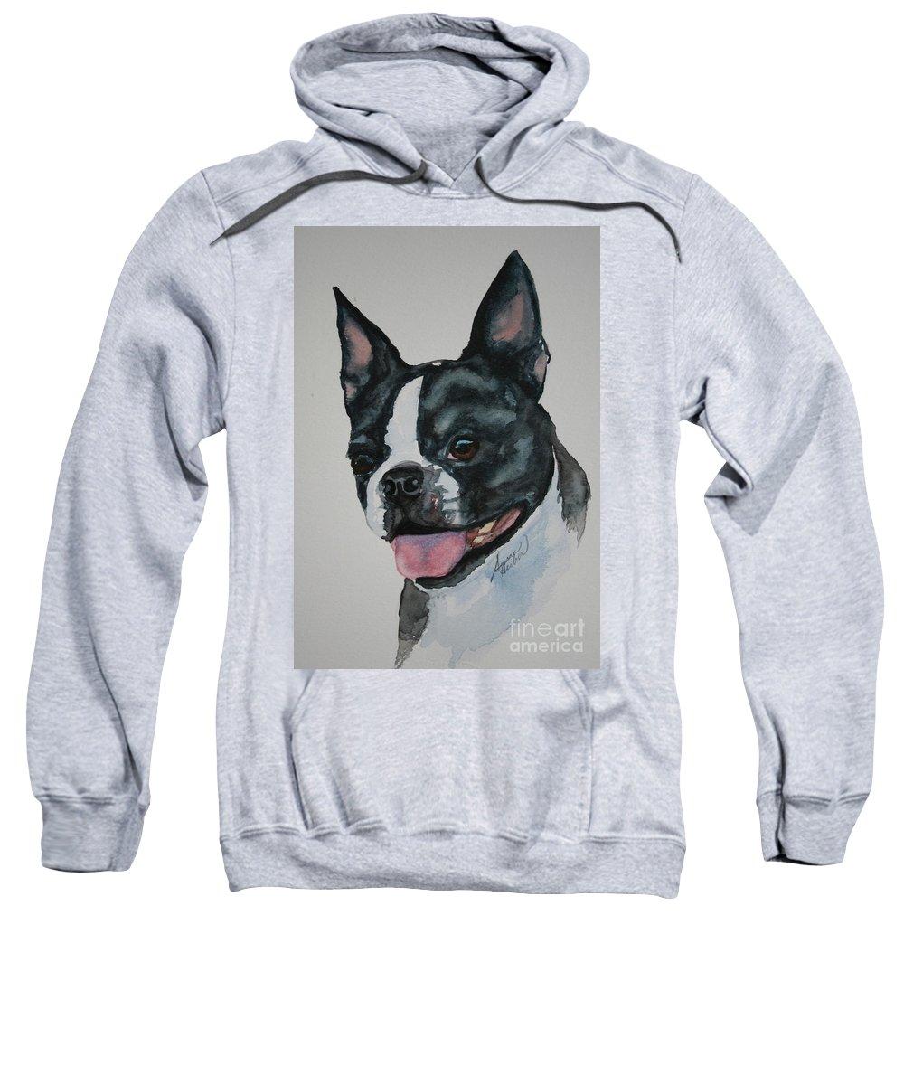 Boston Terrier Sweatshirt featuring the painting Devil Ears by Susan Herber
