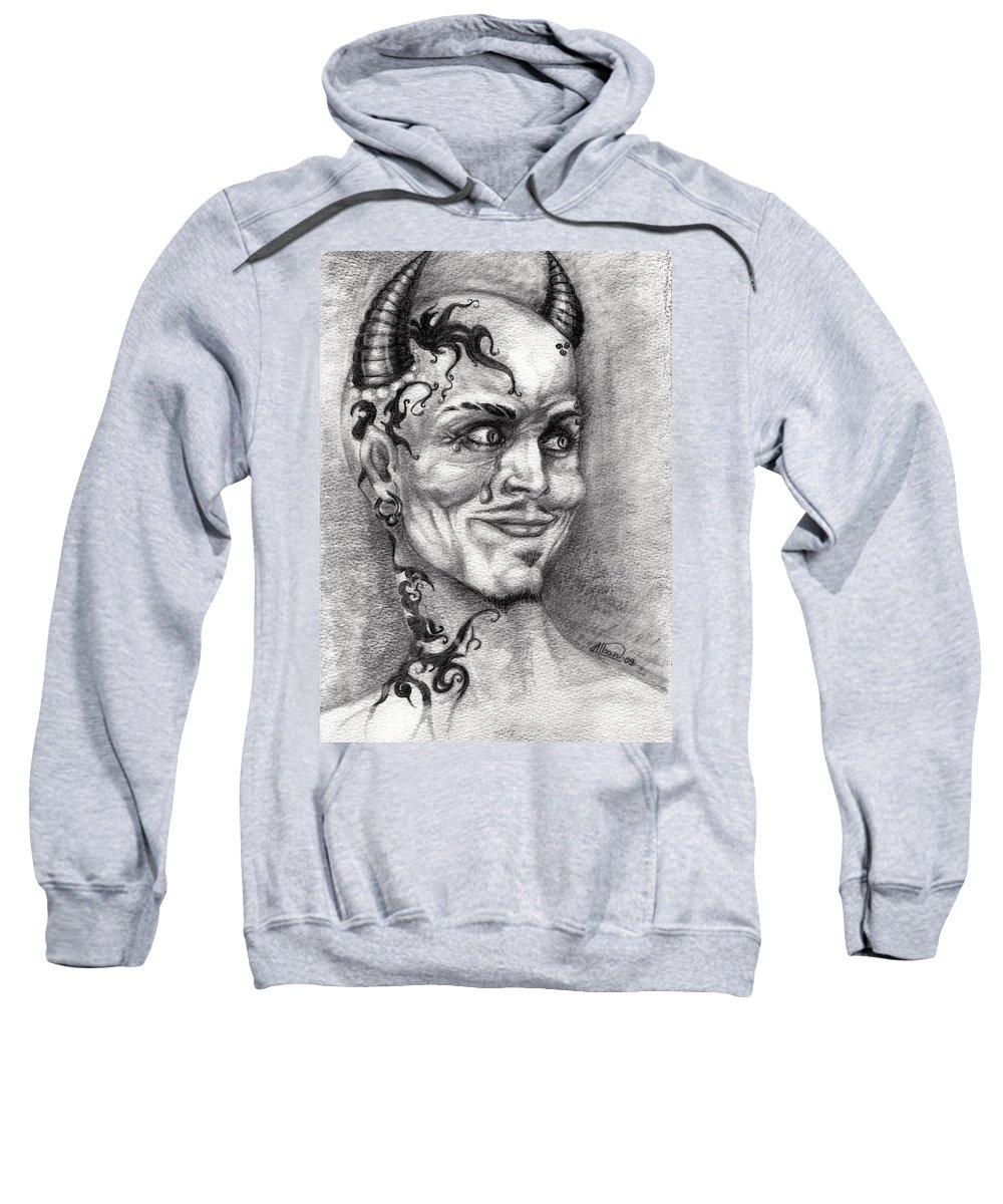 Satan Sweatshirt featuring the drawing Devil May Cry by Alban Dizdari