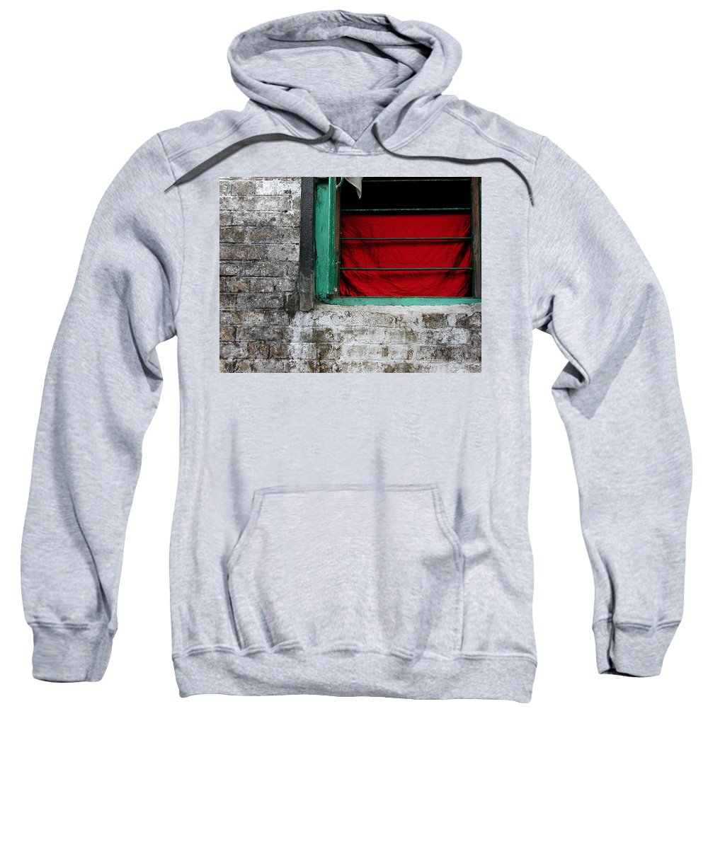 Red Sweatshirt featuring the photograph Dharamsala Window by Skip Hunt