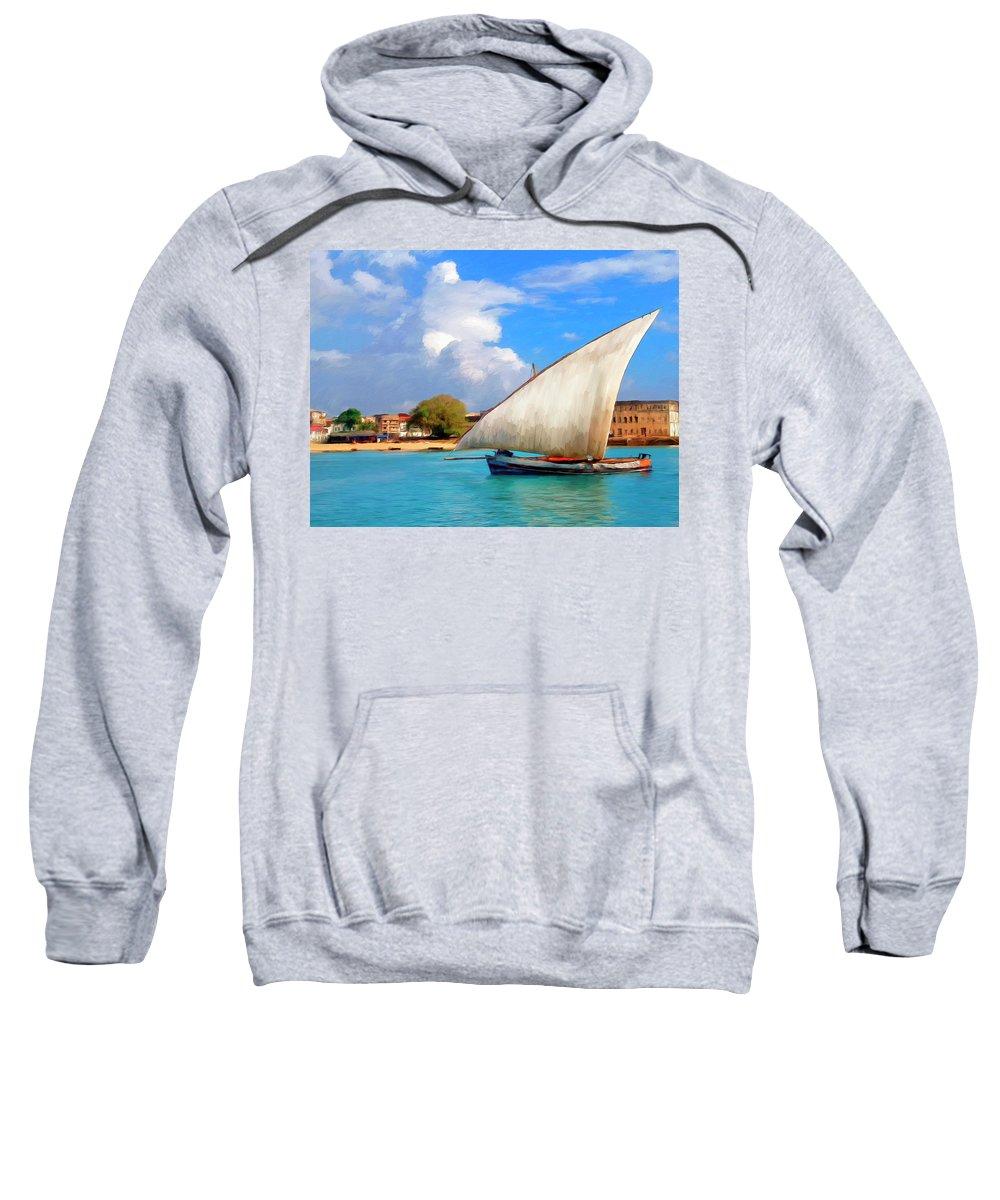 Dhow Off Zanzibar Sweatshirt featuring the painting Dhow Off Zanzibar by Dominic Piperata