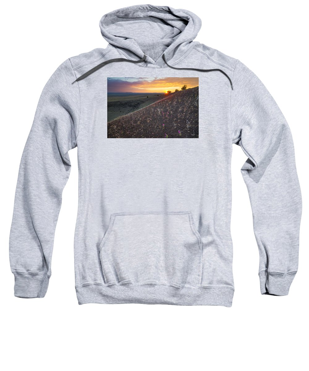 Beautiful Sweatshirt featuring the photograph Diamond Craters Sunset by Leland D Howard