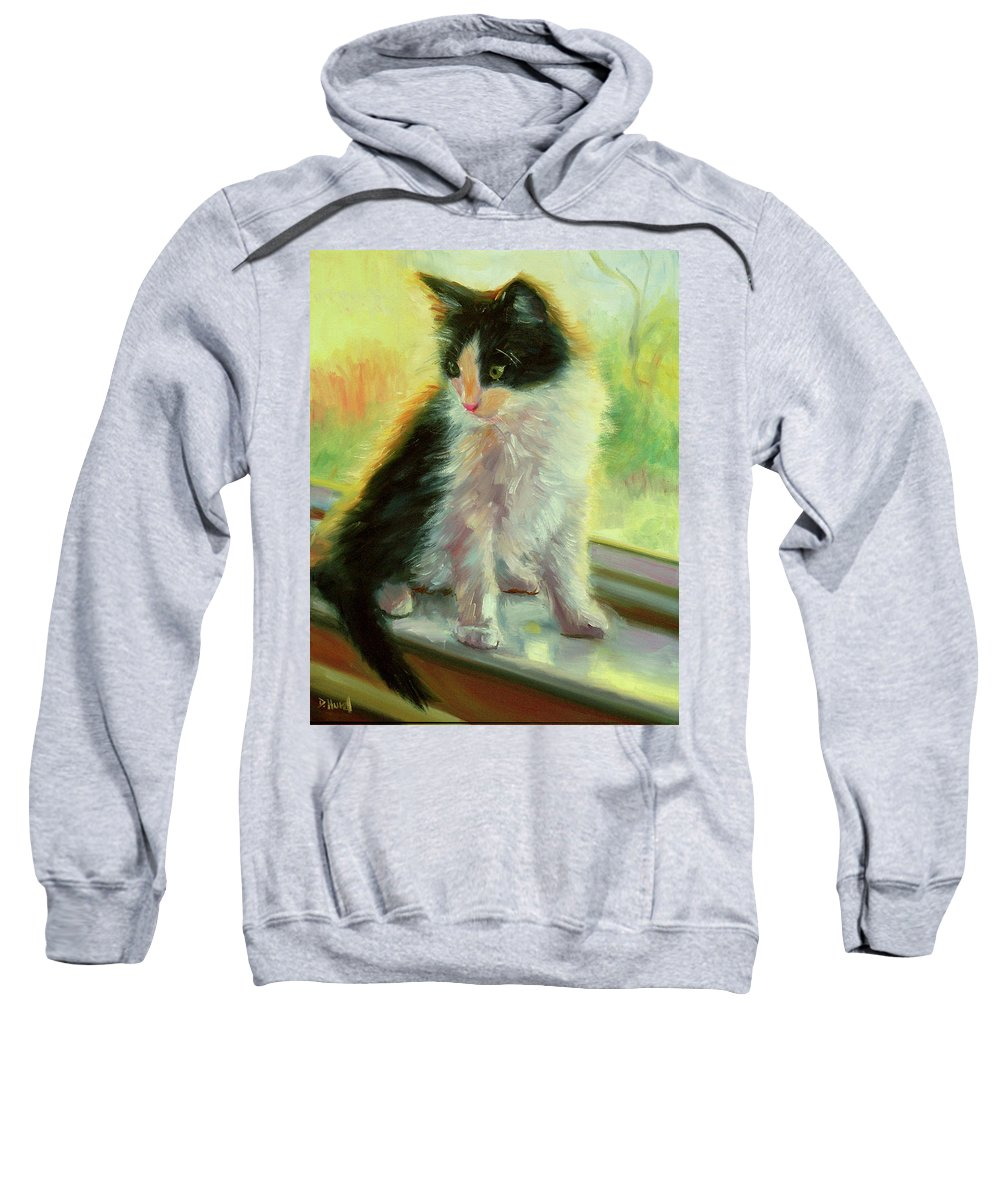 Kitten Sweatshirt featuring the painting Diamond Discovers The Window by Debra Hurd