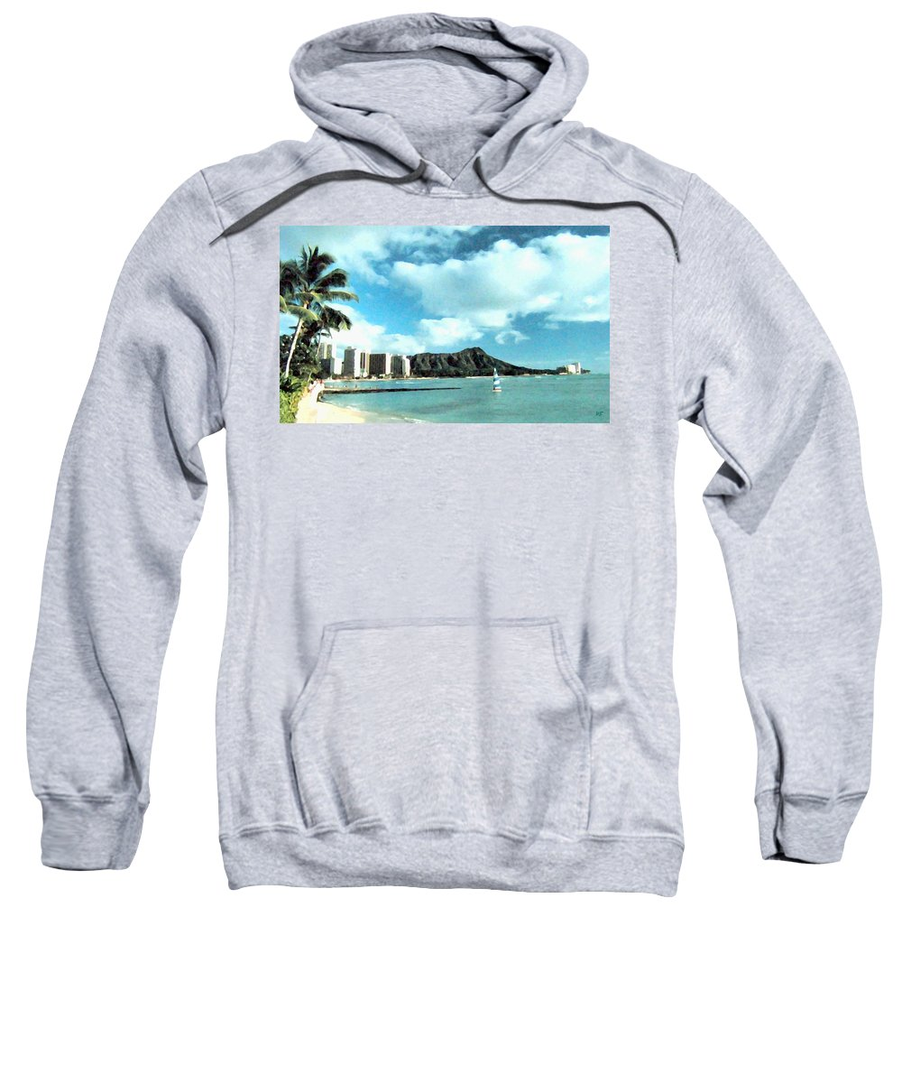 1986 Sweatshirt featuring the digital art Diamond Head by Will Borden