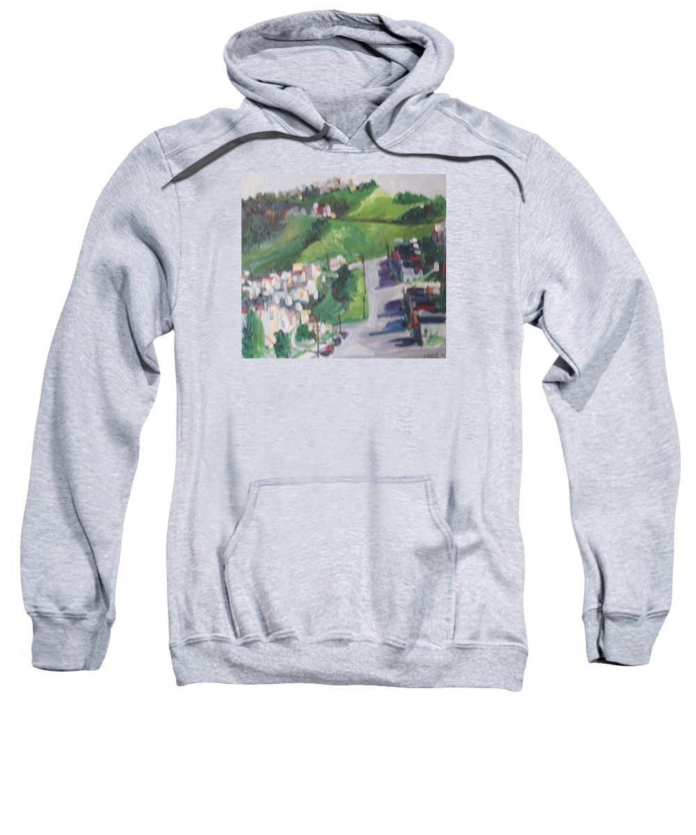 Landscape Of A Hill In San Francisco Sweatshirt featuring the painting Diamond Heights by Pat Gray