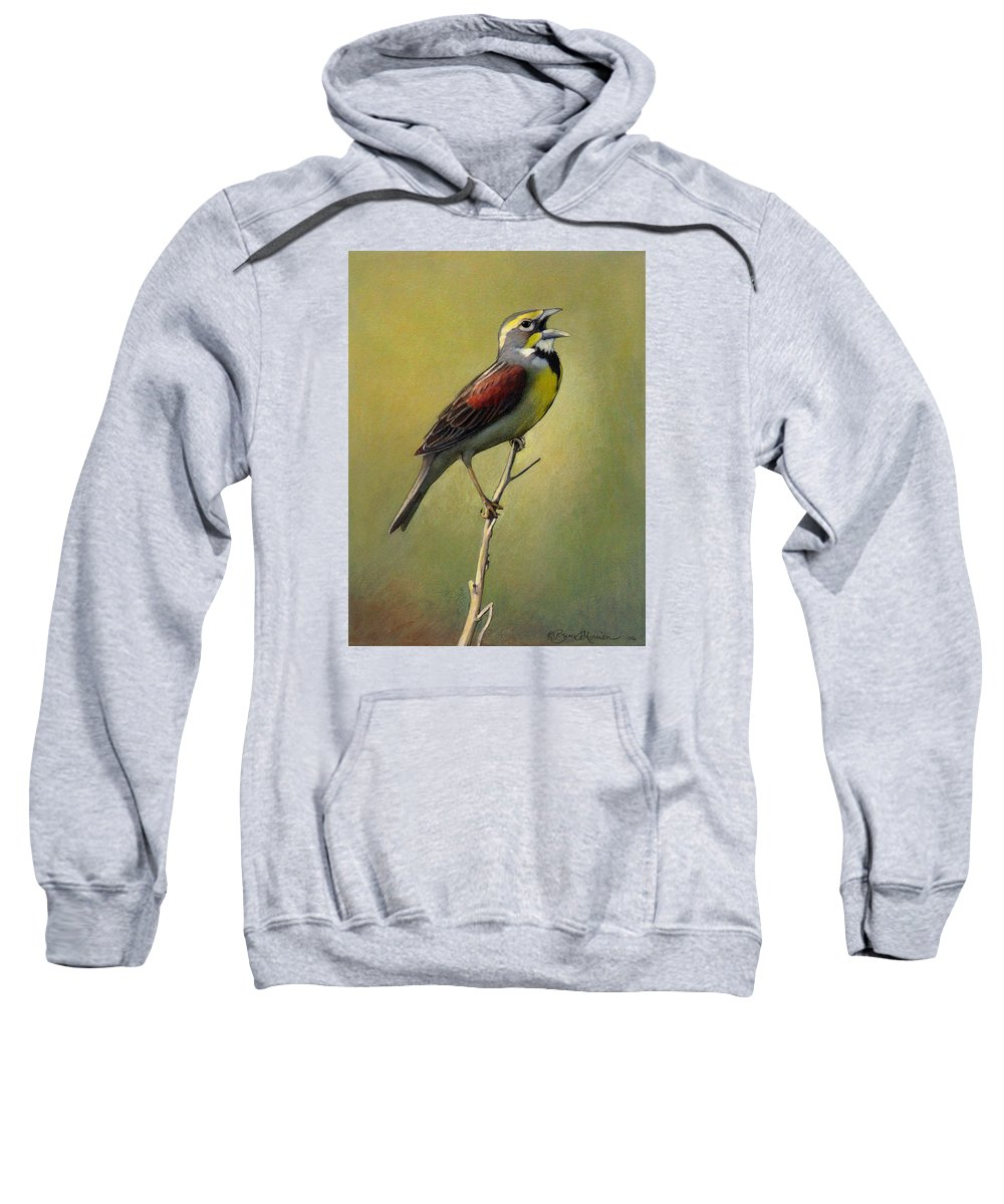 Birds Sweatshirt featuring the drawing Dickcissel Summer Song by Bruce Morrison