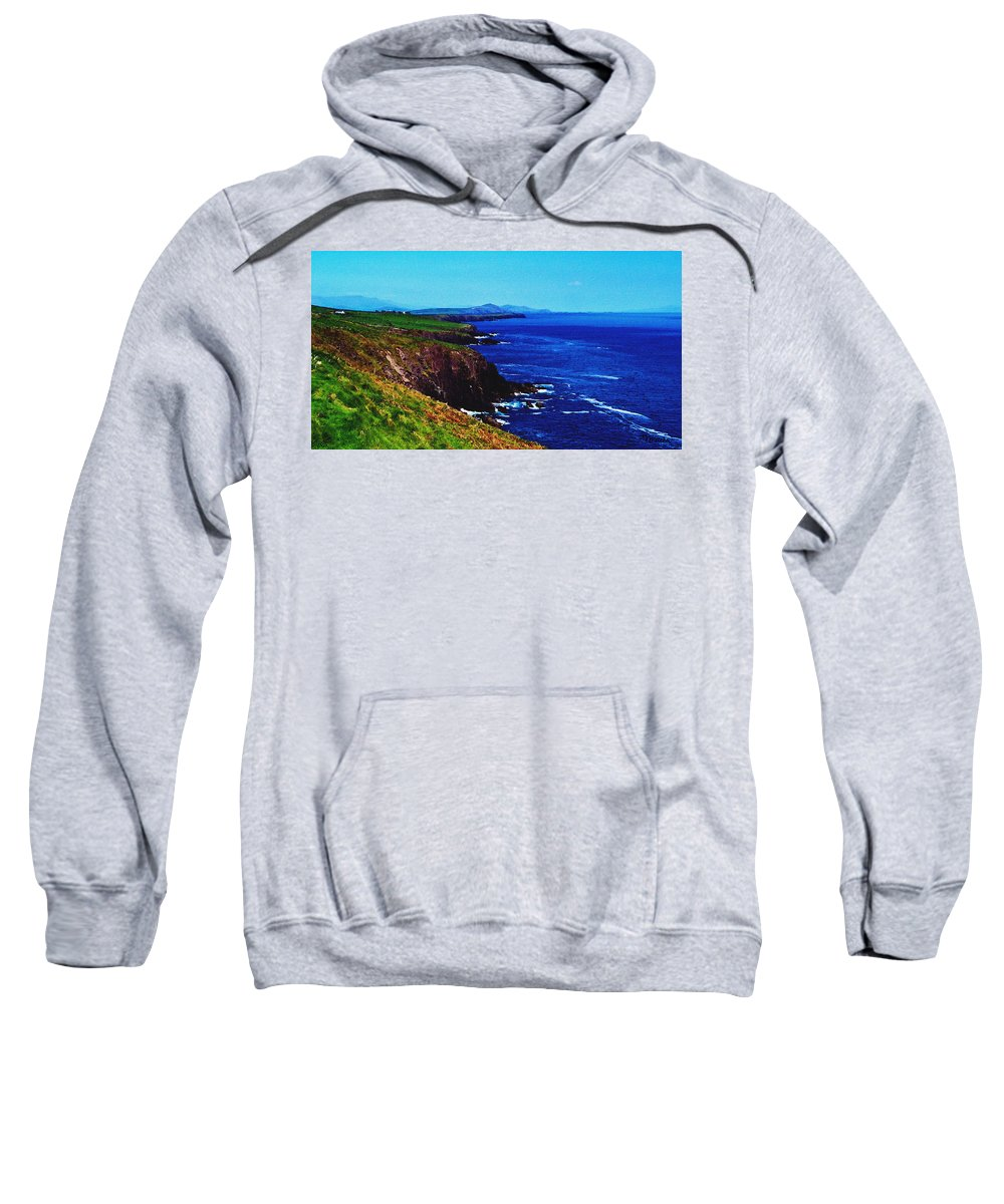 Irish Sweatshirt featuring the digital art Dingle Coastline Near Fahan Ireland by Teresa Mucha