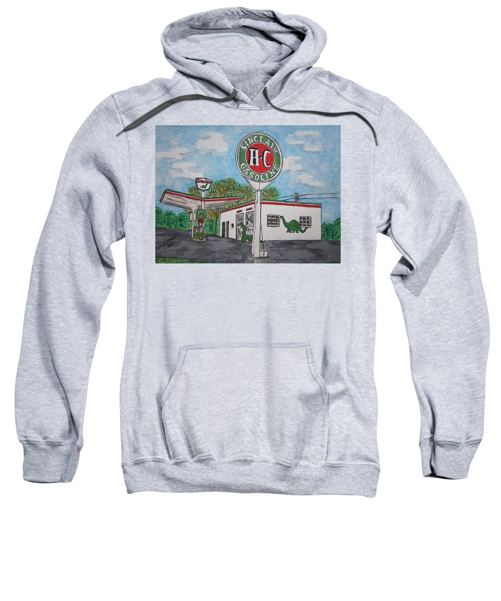 Dino Sweatshirt featuring the painting Dino Sinclair Gas Station by Kathy Marrs Chandler
