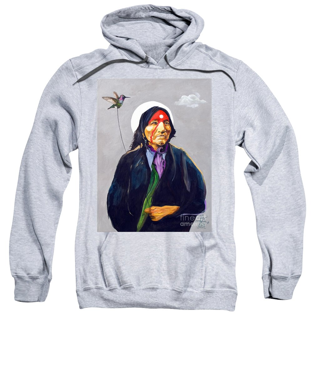 Shaman Sweatshirt featuring the painting Direct Connection by J W Baker