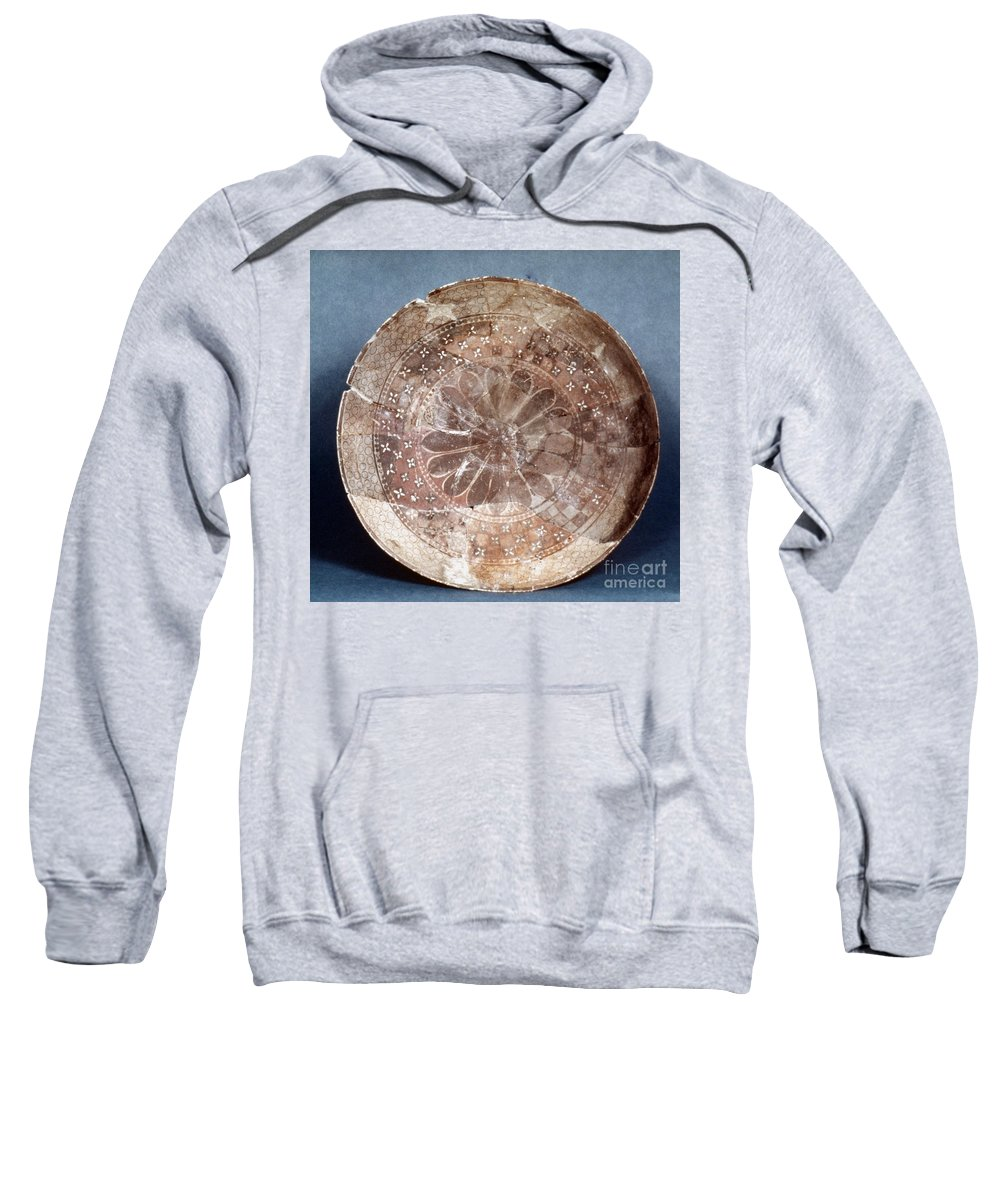 4100 B.c Sweatshirt featuring the photograph Dish Of Halaf Ware by Granger