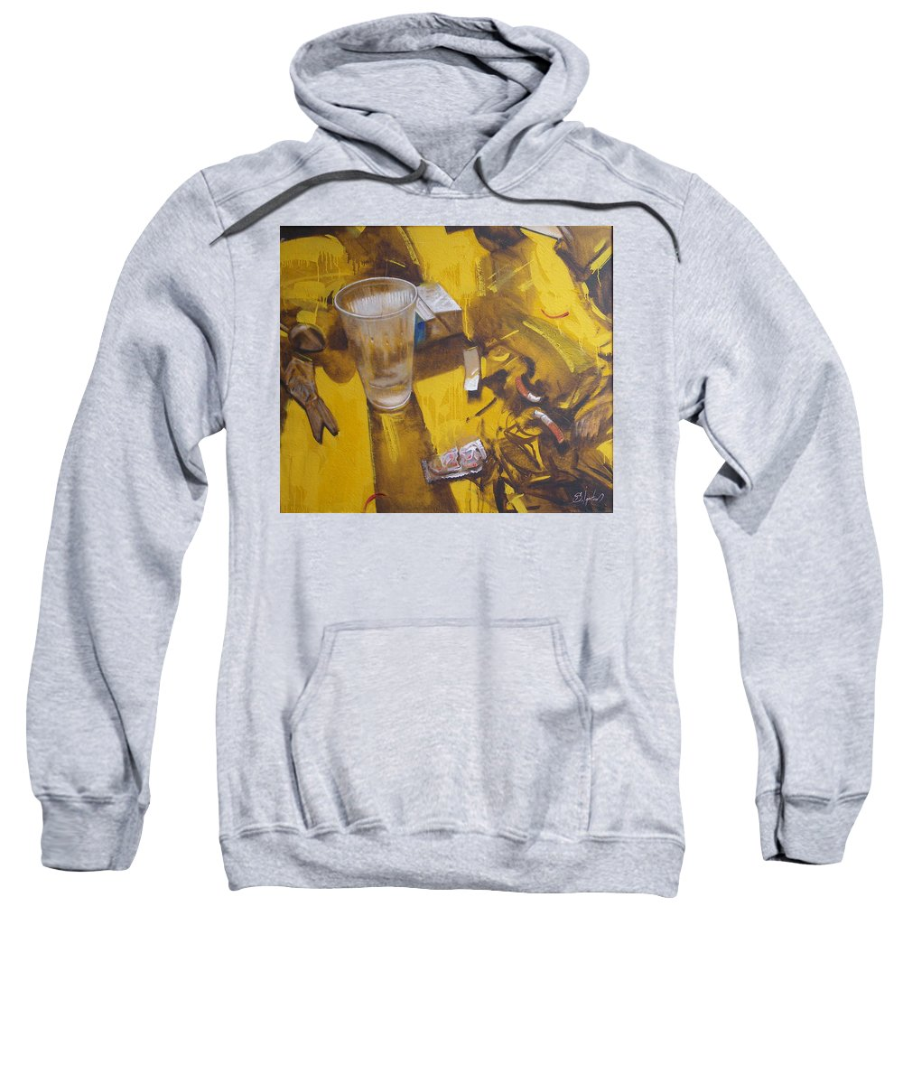 Disposable Sweatshirt featuring the painting Disposable by Sergey Ignatenko