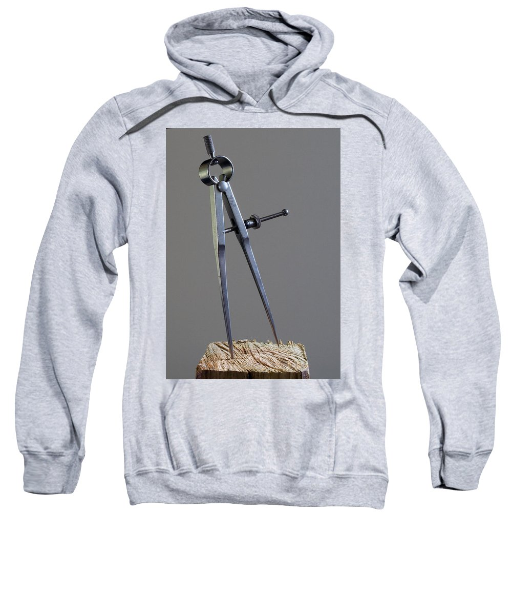 Divider; Divide; Measure; Dimension; Scale; Compass; Draft; Drafting; Draw; Drawing; Paper; Plans; B Sweatshirt featuring the photograph Divider by Allan Hughes