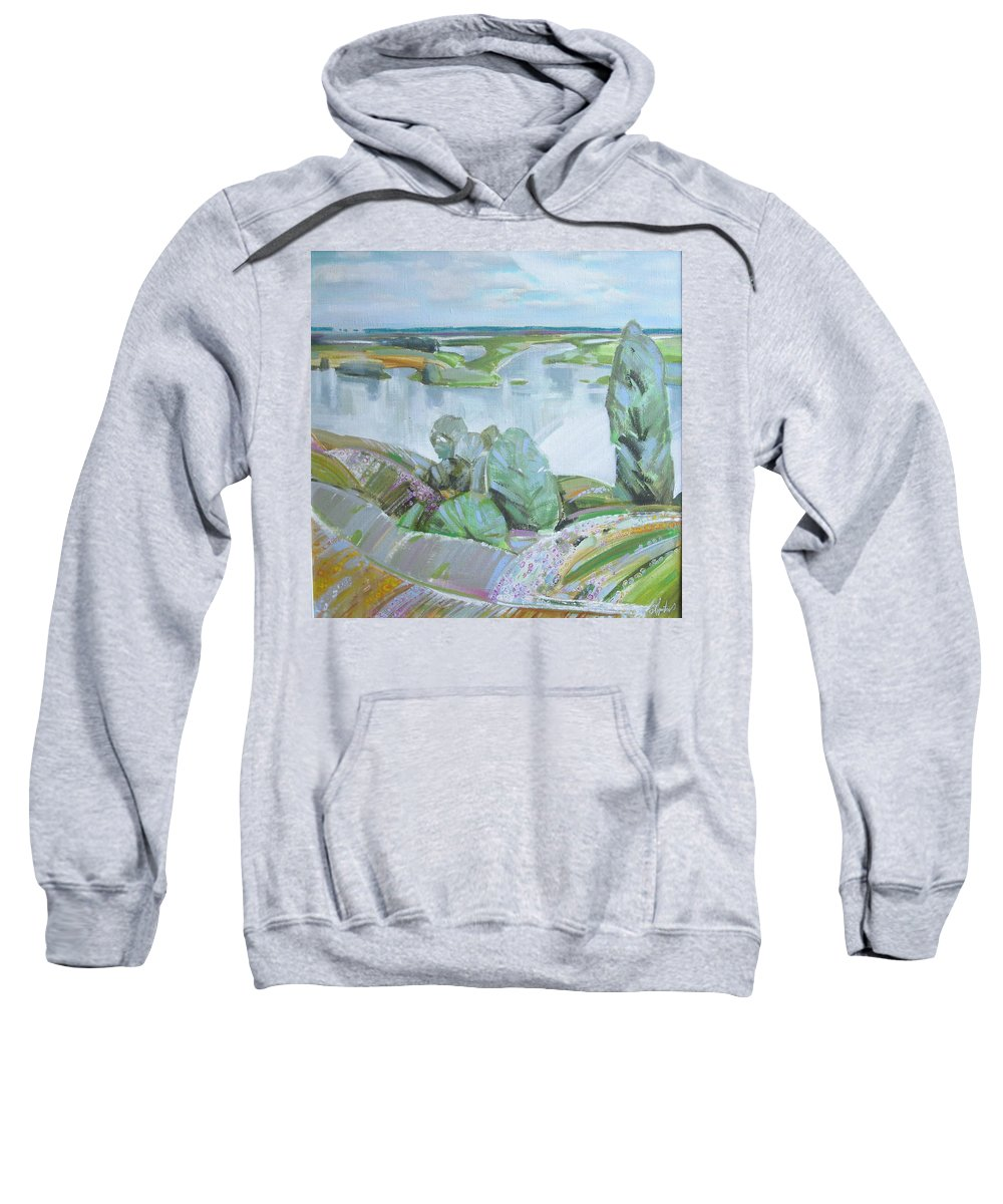 Landscape Sweatshirt featuring the painting Dnepro River by Sergey Ignatenko