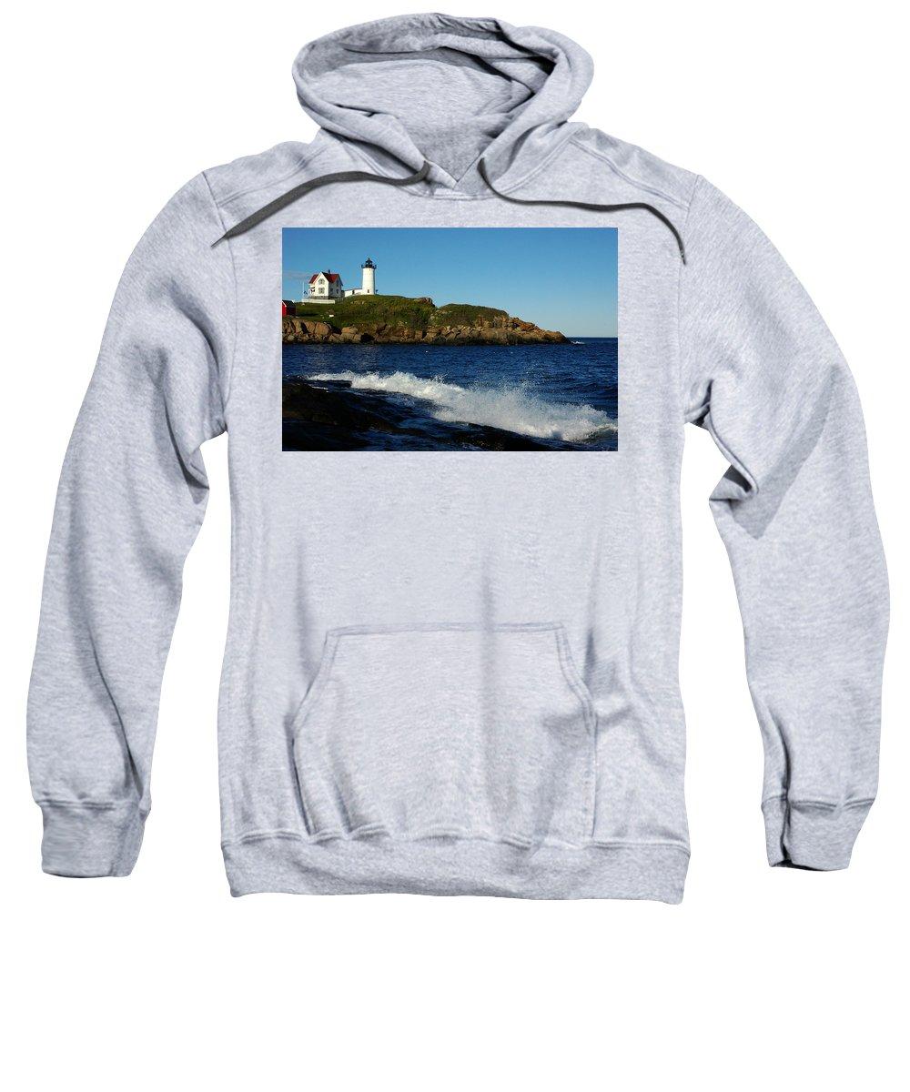 Landscape Lighthouse Nautical New England Cape Neddick Nubble Light Sweatshirt featuring the photograph Dnre0608 by Henry Butz