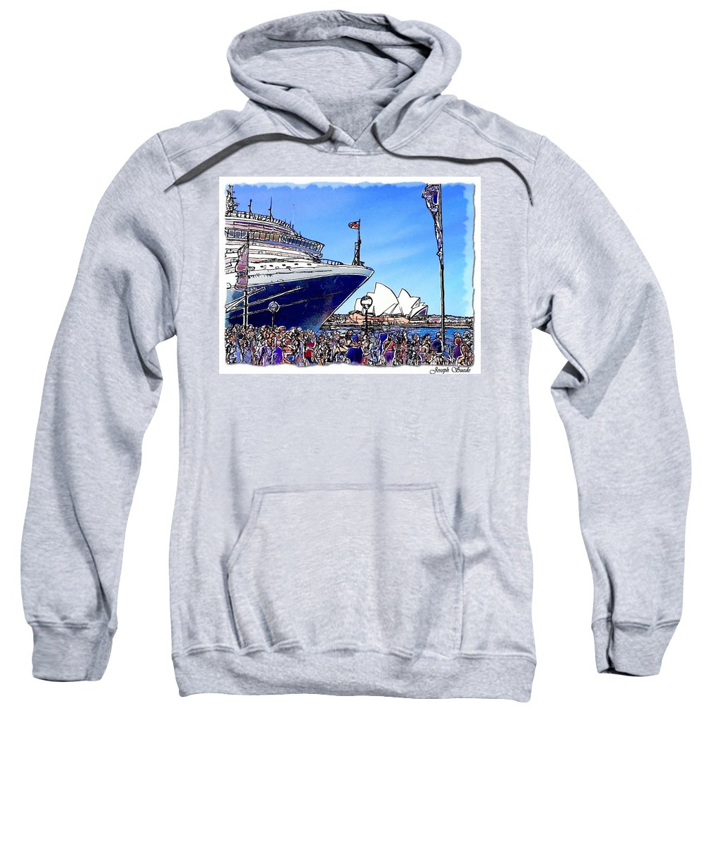 Ship Sweatshirt featuring the photograph Do-00100 A Ship And Opera House by Digital Oil