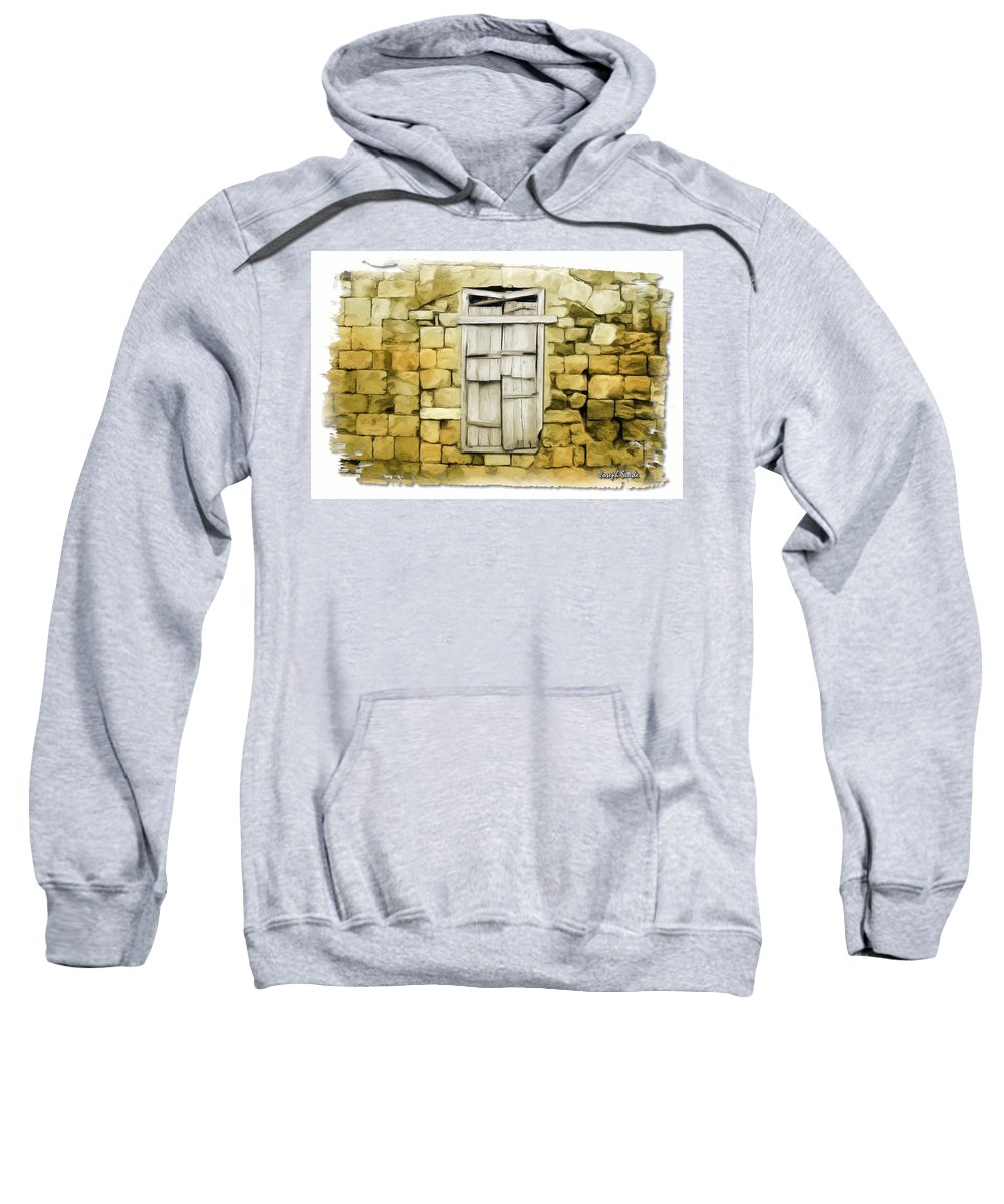 Rocks Sweatshirt featuring the photograph Do-00322 An Old Door And Wall by Digital Oil