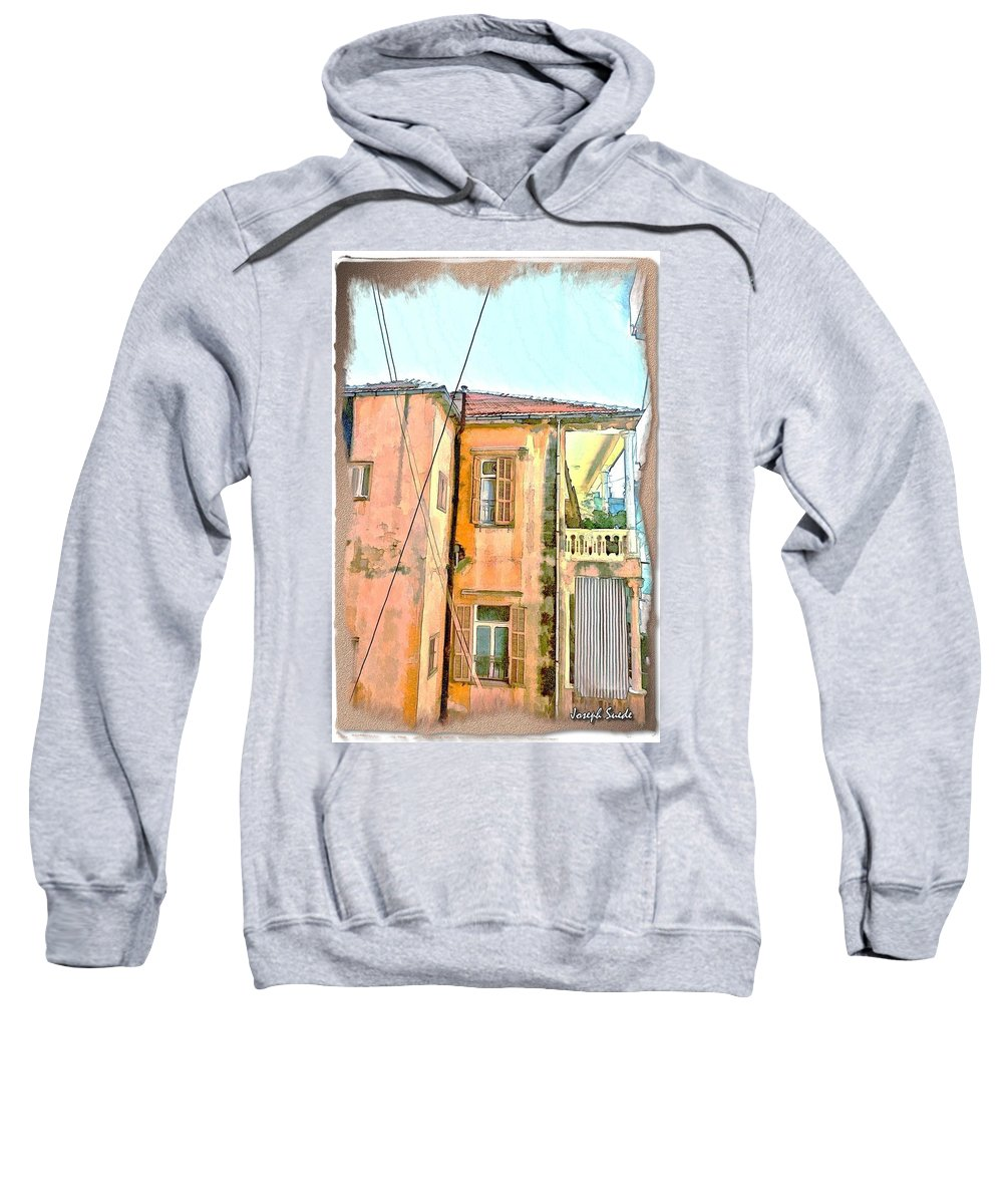 Building Sweatshirt featuring the photograph Do-00386 Old Building In Mar Mikhael by Digital Oil