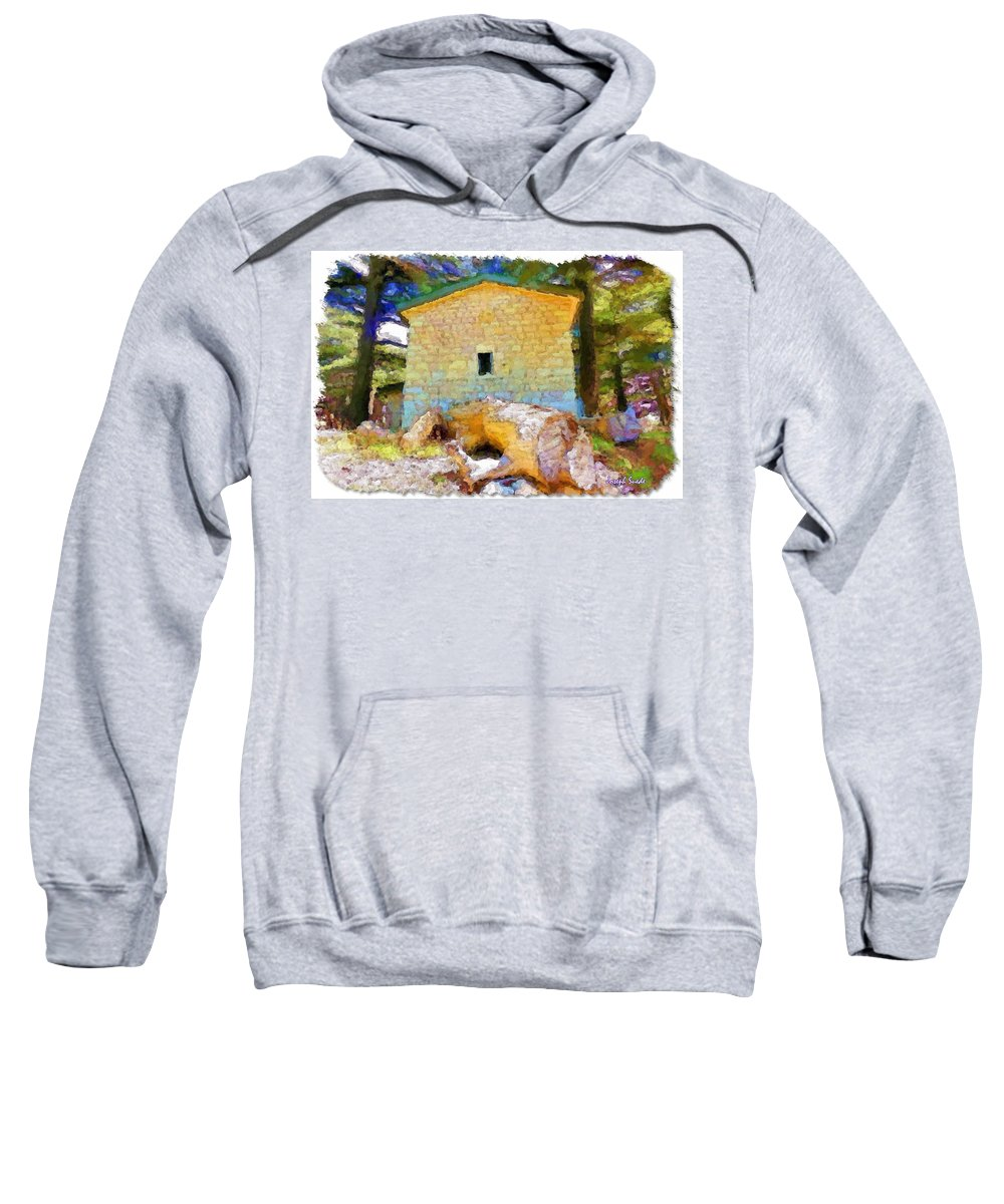 Building Sweatshirt featuring the photograph Do-00435 Building Surrounded By Cedars by Digital Oil