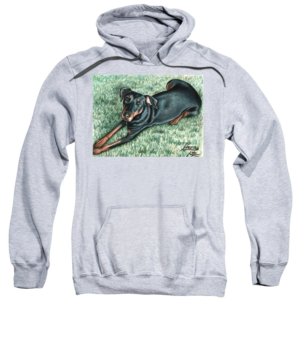 Dog Sweatshirt featuring the painting Dobermann by Nicole Zeug