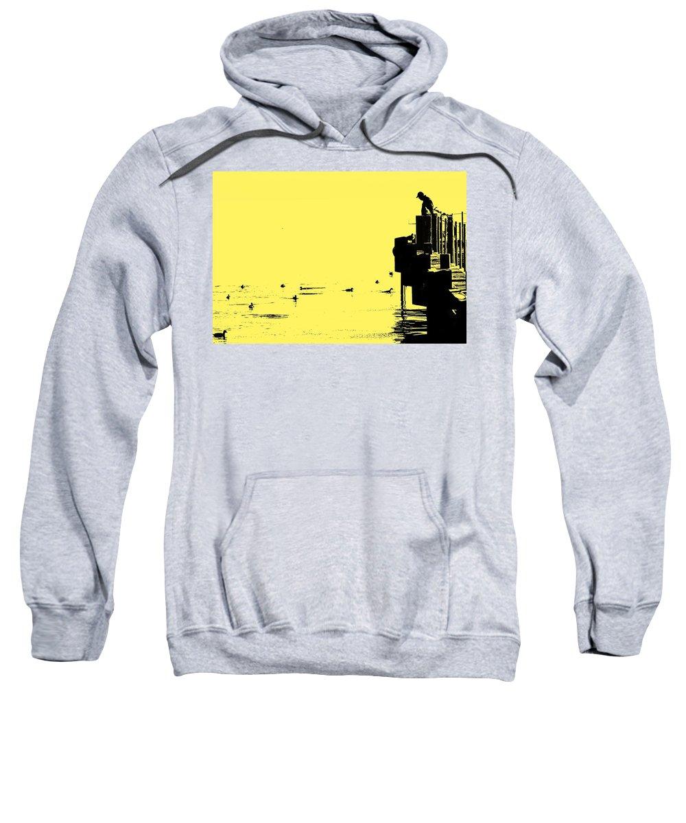 Dock Sweatshirt featuring the photograph Dock And Ducks by Ian MacDonald
