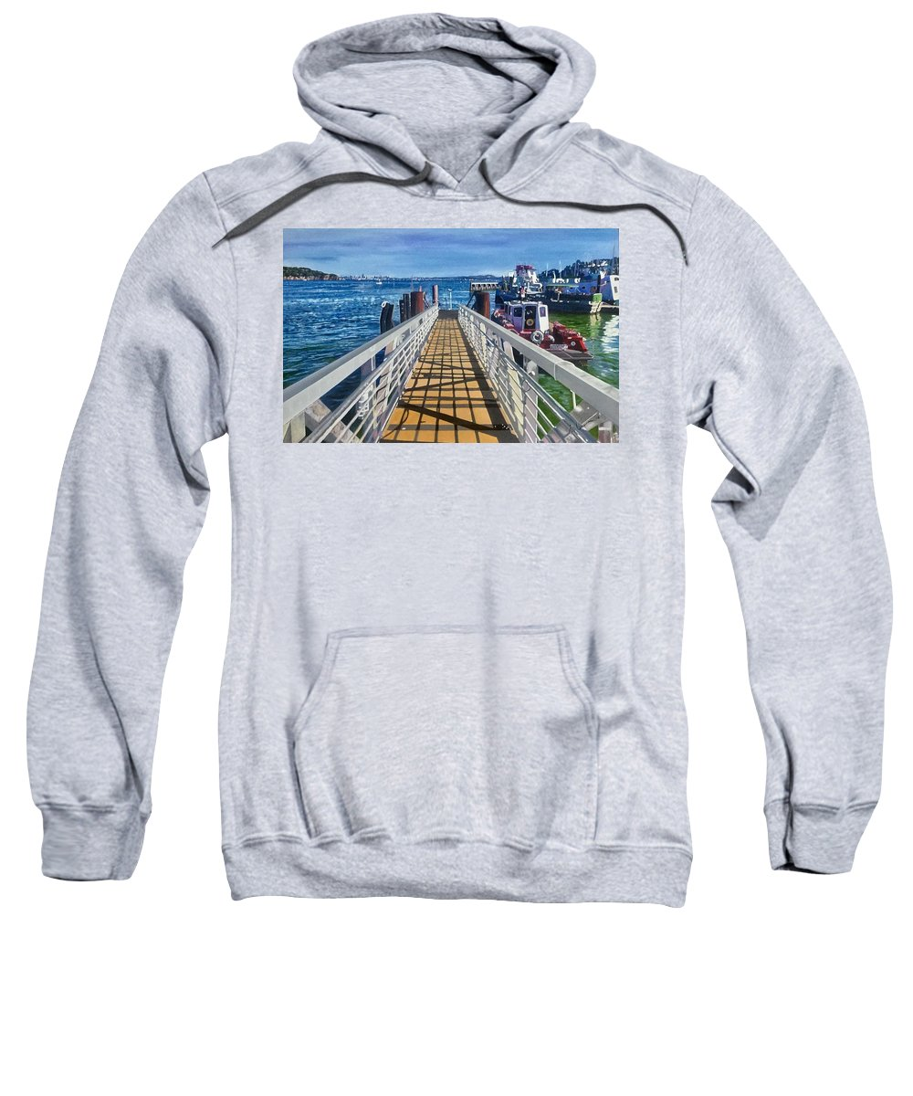 Sweatshirt featuring the painting Dock Of Tiburon Sfo by Antonio De Irun