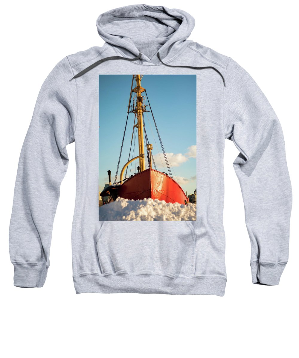 Nyc Sweatshirt featuring the photograph Docked At The Snowfront by Frank Carlo Jr