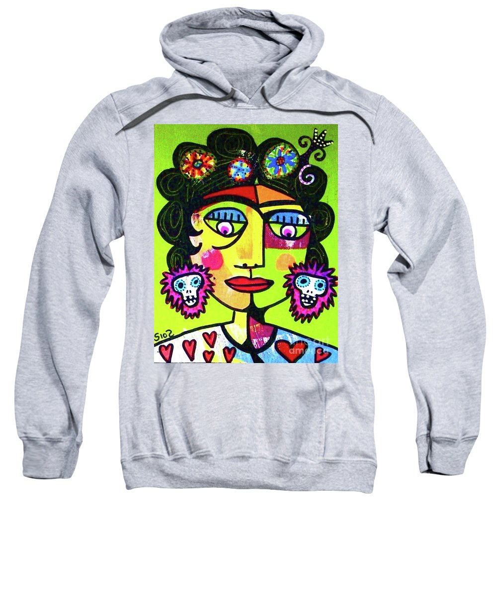 Sweatshirt featuring the mixed media Dod Art 123hh by Sandra Silberzweig