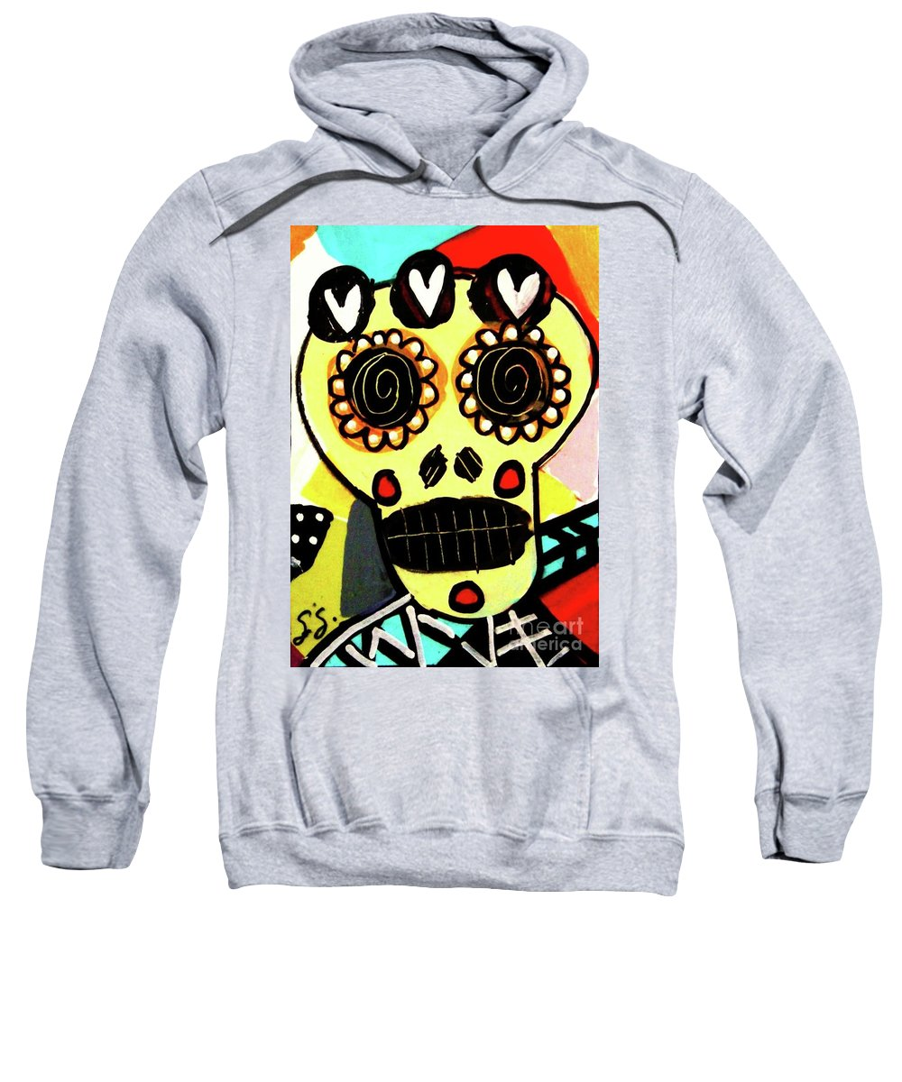 Sweatshirt featuring the mixed media Dod Art 123tyu by Sandra Silberzweig