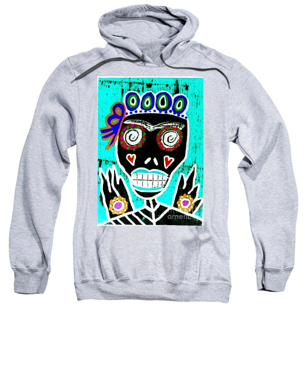 Sweatshirt featuring the mixed media Dod Art 123yre by Sandra Silberzweig