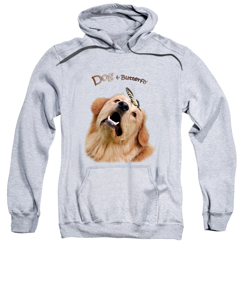 Dog And Butterfly Sweatshirt featuring the photograph Dog And Butterfly by Christina Rollo