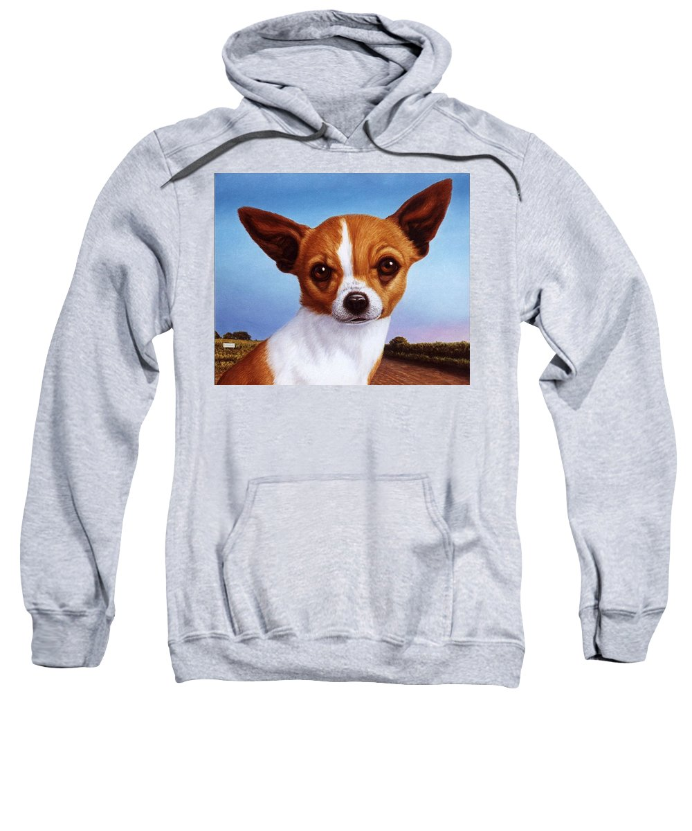 Chihuahua Sweatshirt featuring the painting Dog-nature 3 by James W Johnson