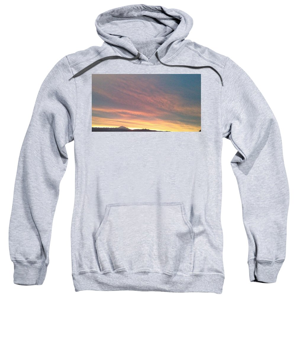 Abstract Dogs Sky Mountain Sweatshirt featuring the photograph Dogs Running In Purple by George Woods