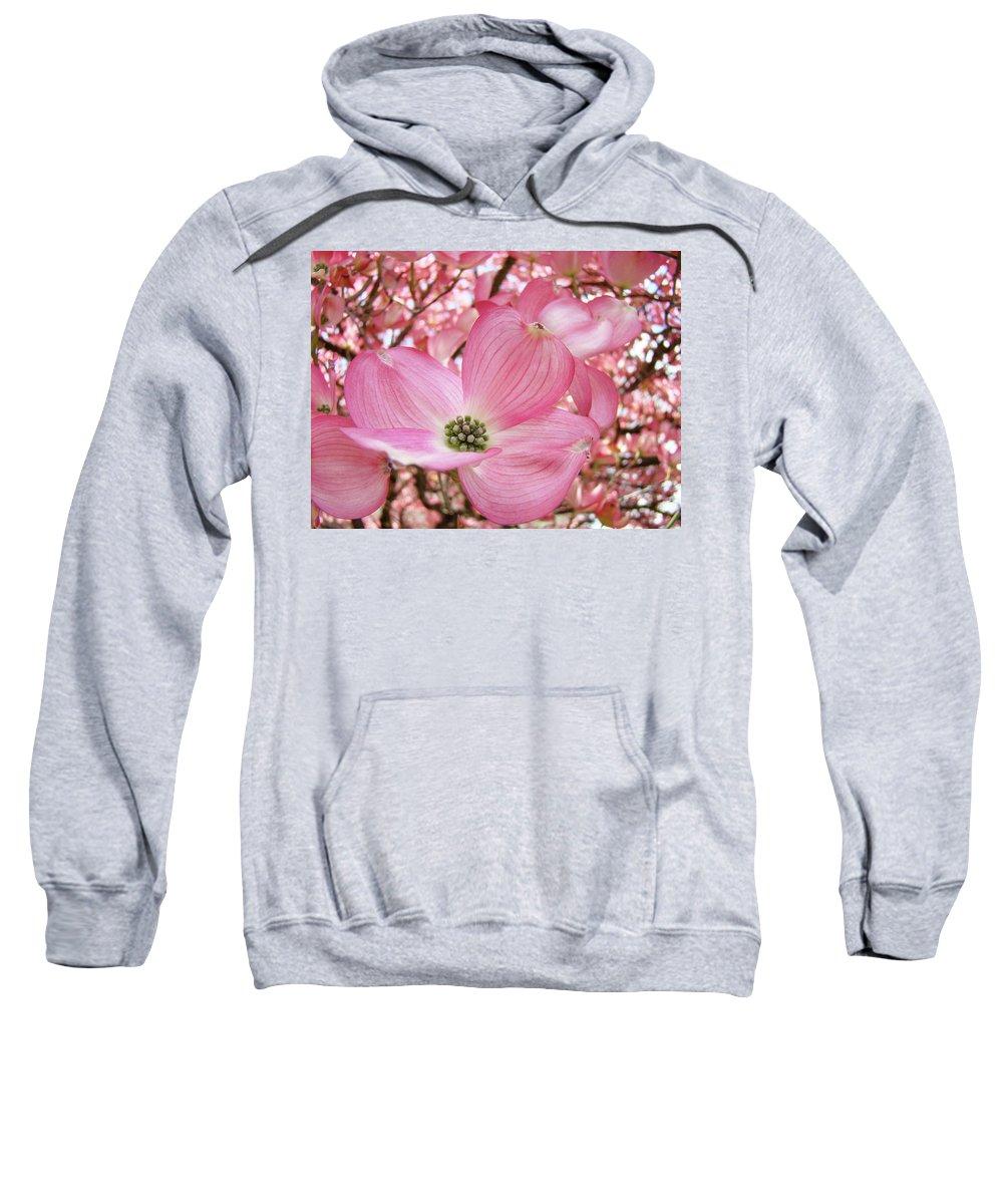Dogwood Sweatshirt featuring the photograph Dogwood Tree 1 Pink Dogwood Flowers Artwork Art Prints Canvas Framed Cards by Baslee Troutman