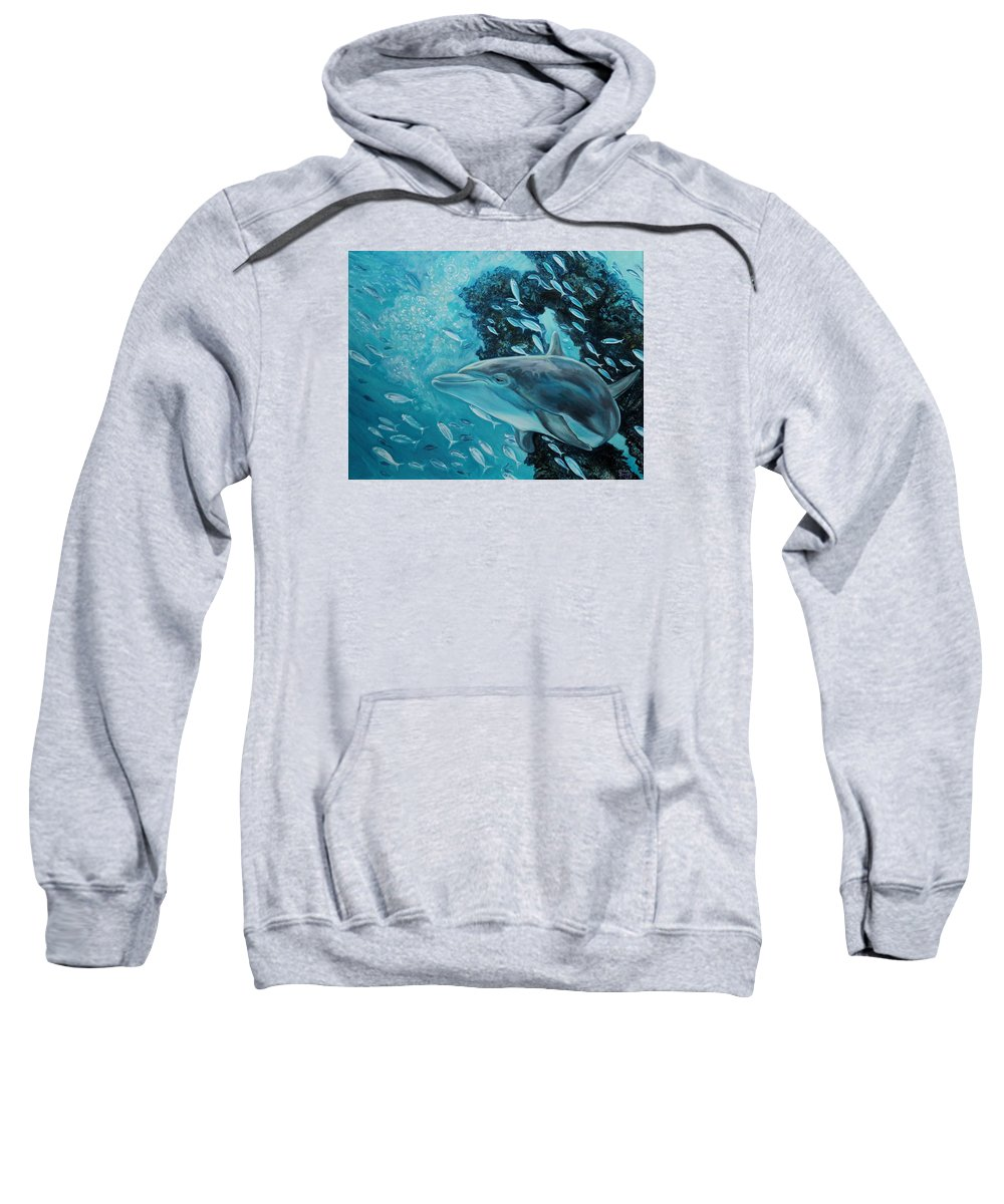 Underwater Scene Sweatshirt featuring the painting Dolphin With Small Fish by Diann Baggett