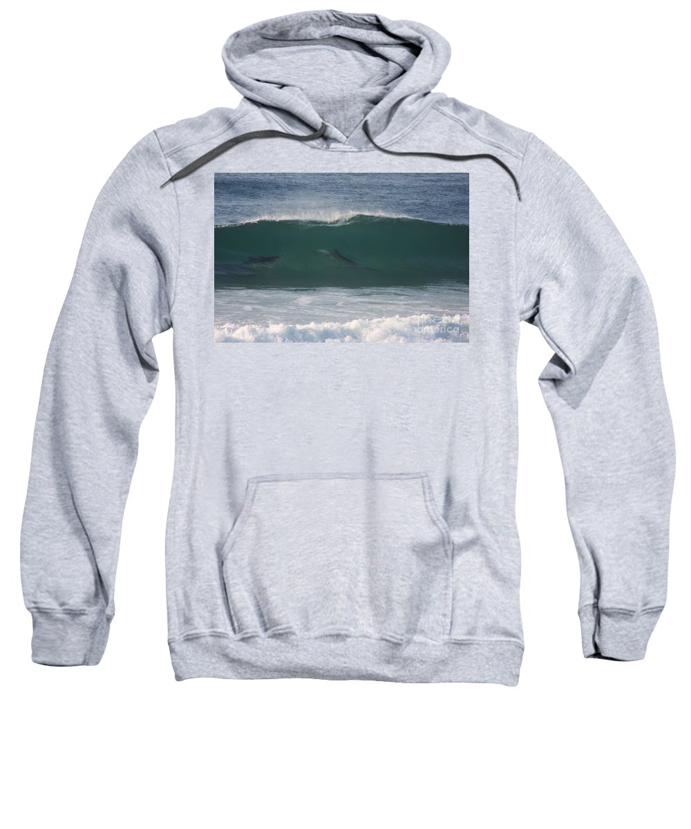 Sea Sweatshirt featuring the photograph Dolphins Surfing The Waves by Richard Riley