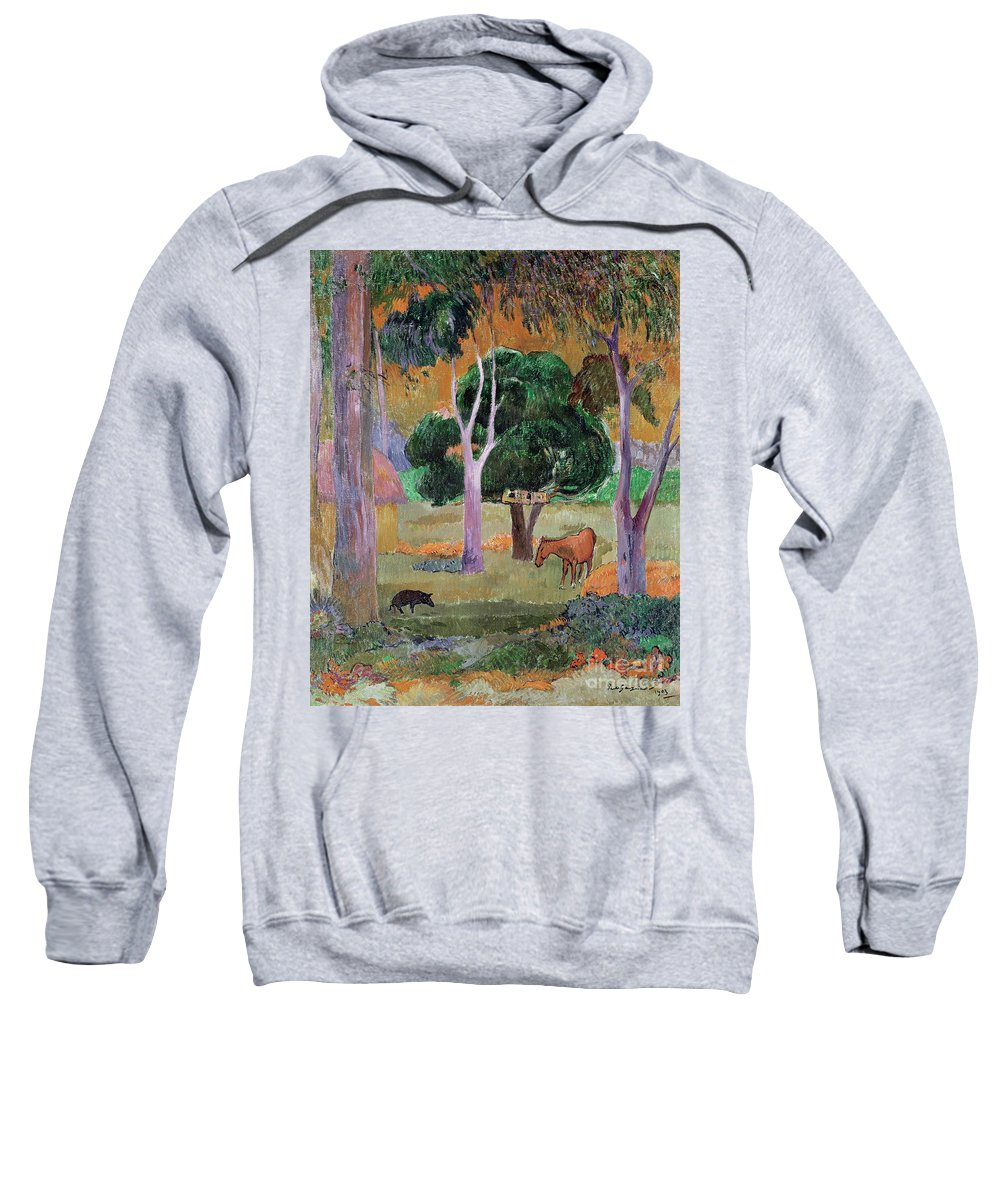 Dominican Landscape Or Sweatshirt featuring the painting Dominican Landscape by Paul Gauguin