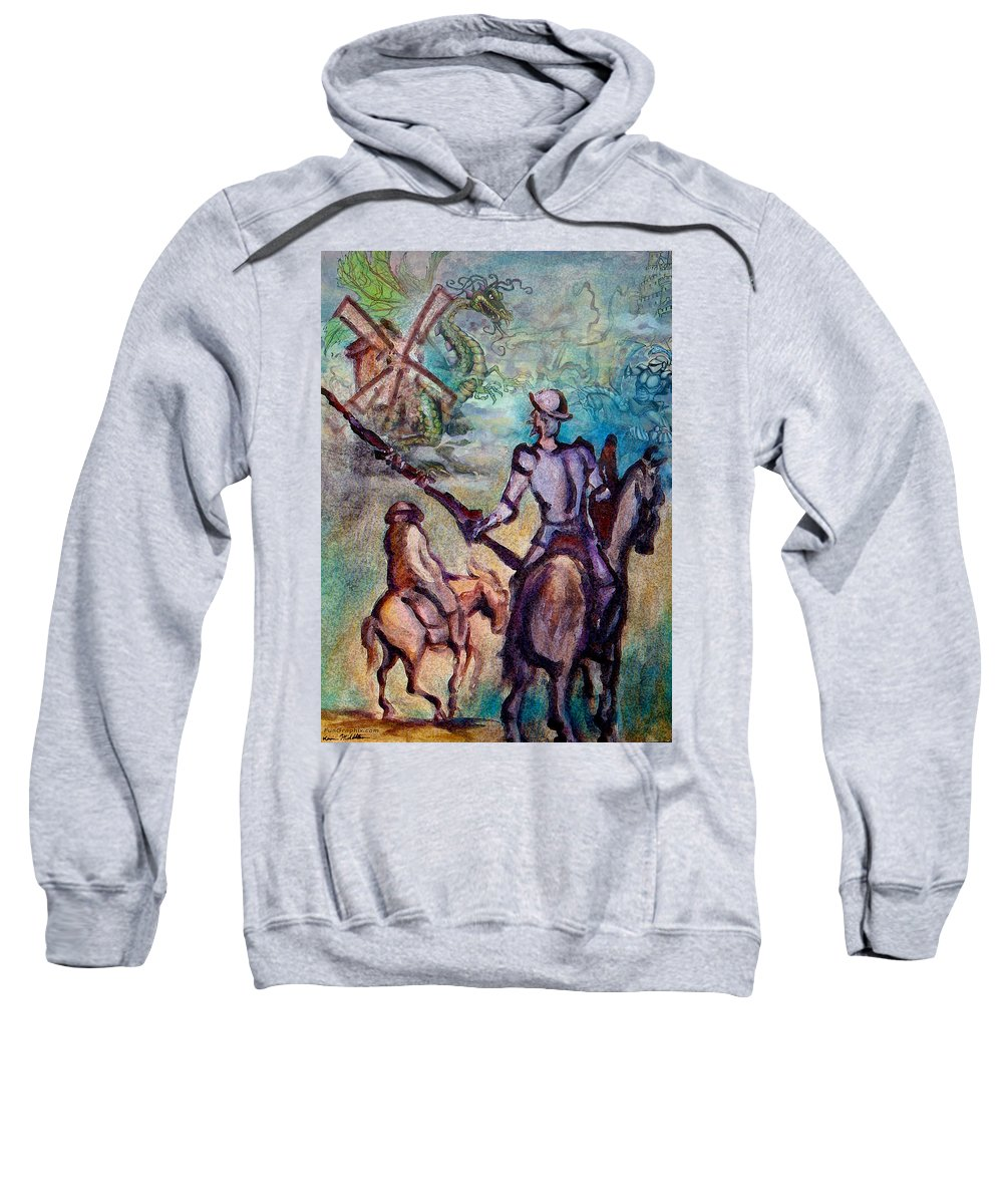 Don Quixote Sweatshirt featuring the painting Don Quixote With Dragon by Kevin Middleton