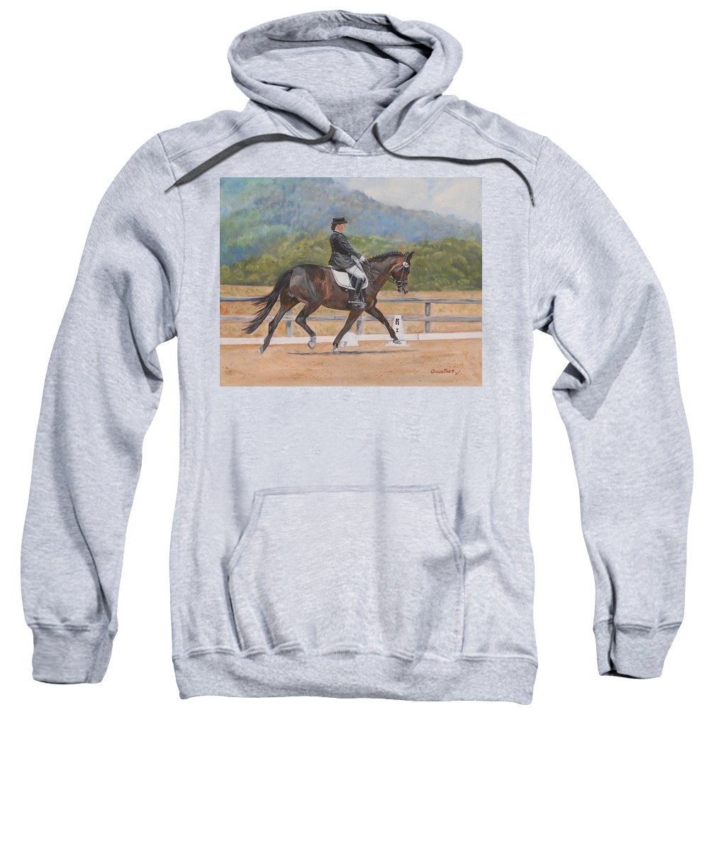 Horse Sweatshirt featuring the painting Donnerlittchen by Quwatha Valentine