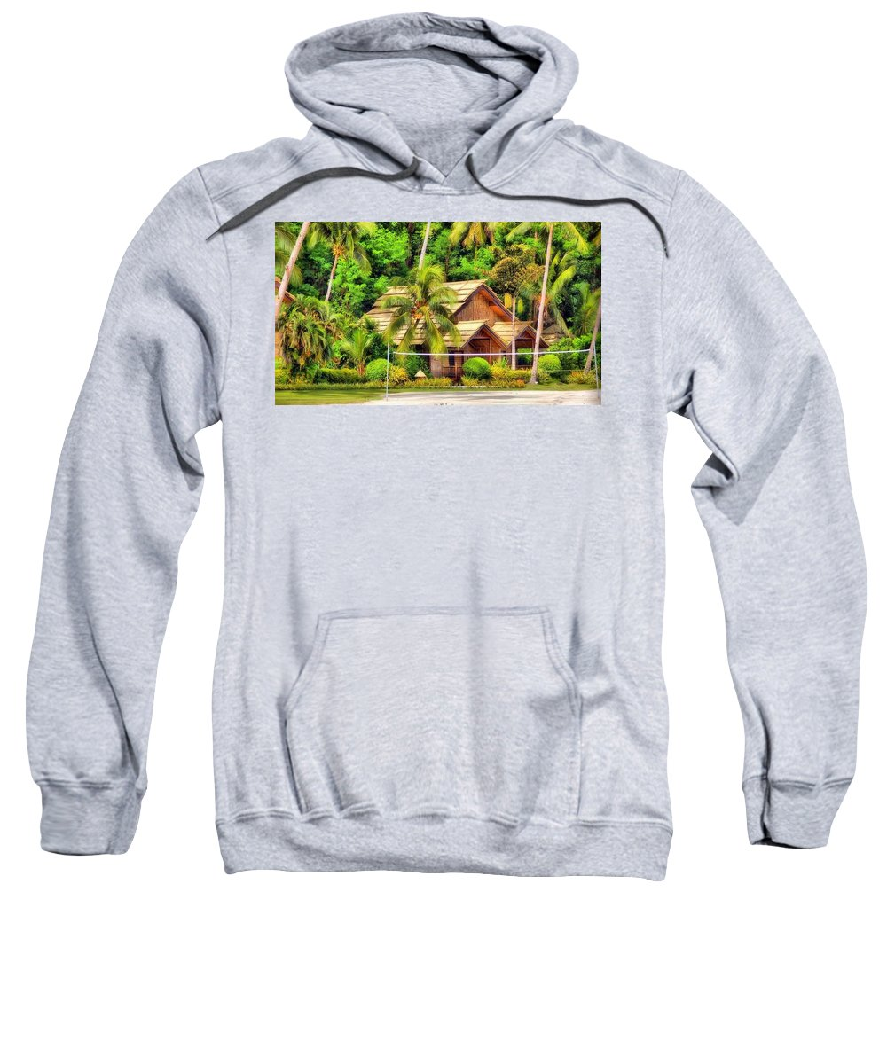Donnie Isaacs - Beautiful Sweatshirt featuring the photograph Donnie Isaacs - Beautiful Green Trees House Nature Landscape by Donnie Isaacs
