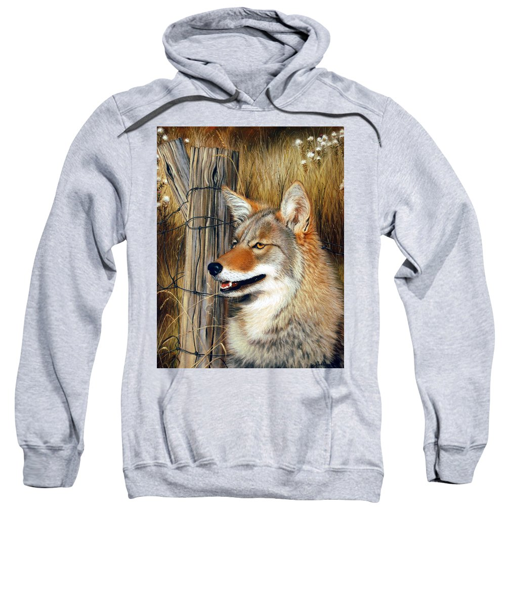 Animal Sweatshirt featuring the painting Don't Fence Me In by Deb Owens-Lowe