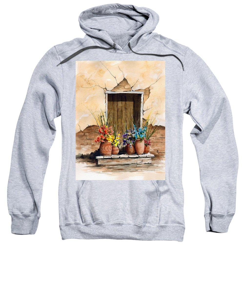 Door Sweatshirt featuring the painting Door With Flower Pots by Sam Sidders