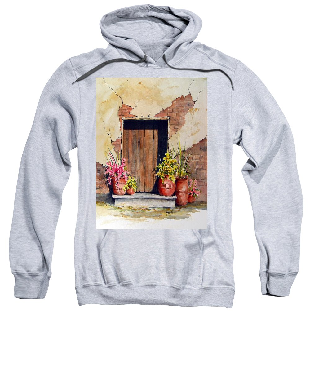 Flowers Sweatshirt featuring the painting Door With Pots by Sam Sidders