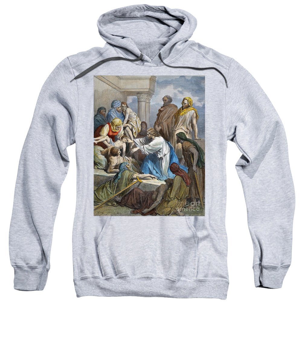 19th Century Sweatshirt featuring the photograph Dor�: Jesus Healing Sick by Granger