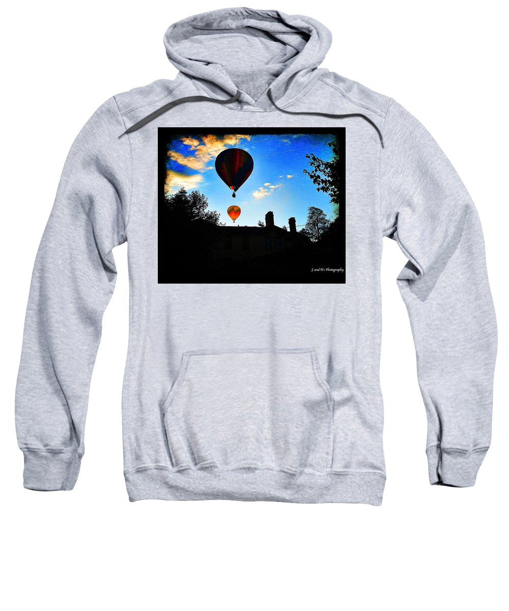 Hot Air Balloons Letchworth State Park New York Glen Iris Inn Sweatshirt featuring the photograph Double Balloons by Justyn Ripley