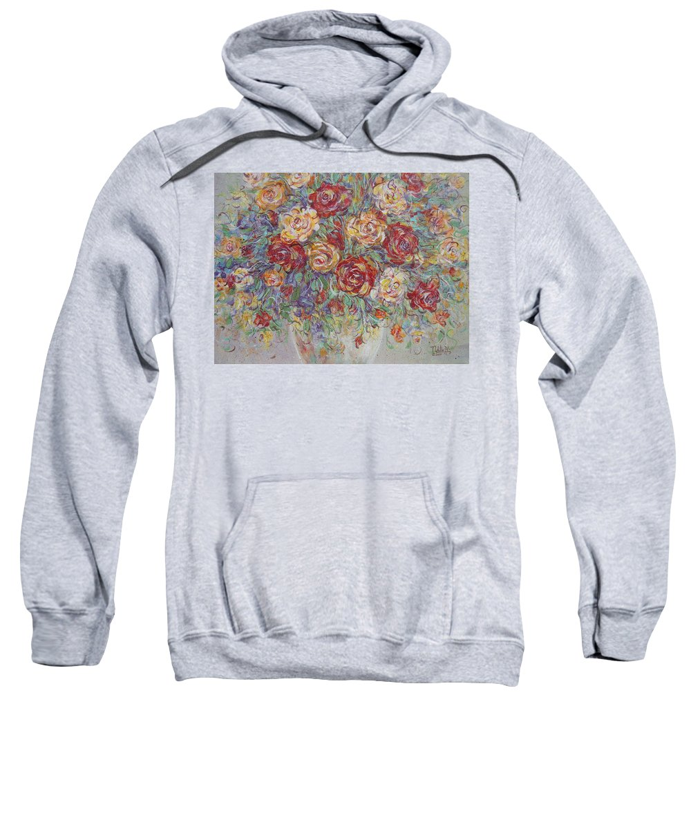 Flowers Sweatshirt featuring the painting Double Delight. by Natalie Holland