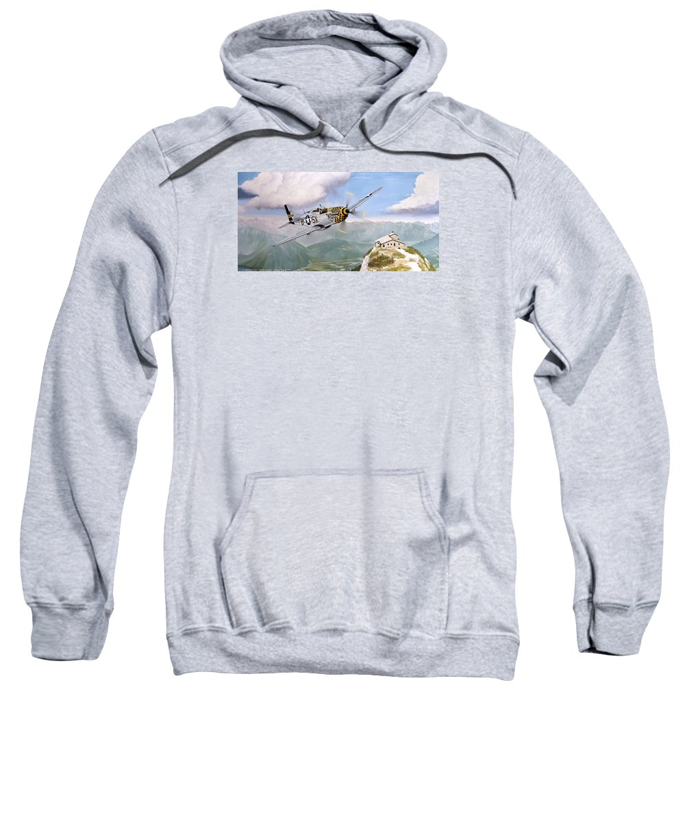 Military Sweatshirt featuring the painting Double Trouble Over The Eagle by Marc Stewart