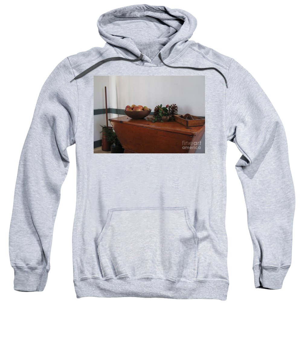 Wood Breadbox Sweatshirt featuring the photograph Dough Box Table At Christmas by Nancy Patterson