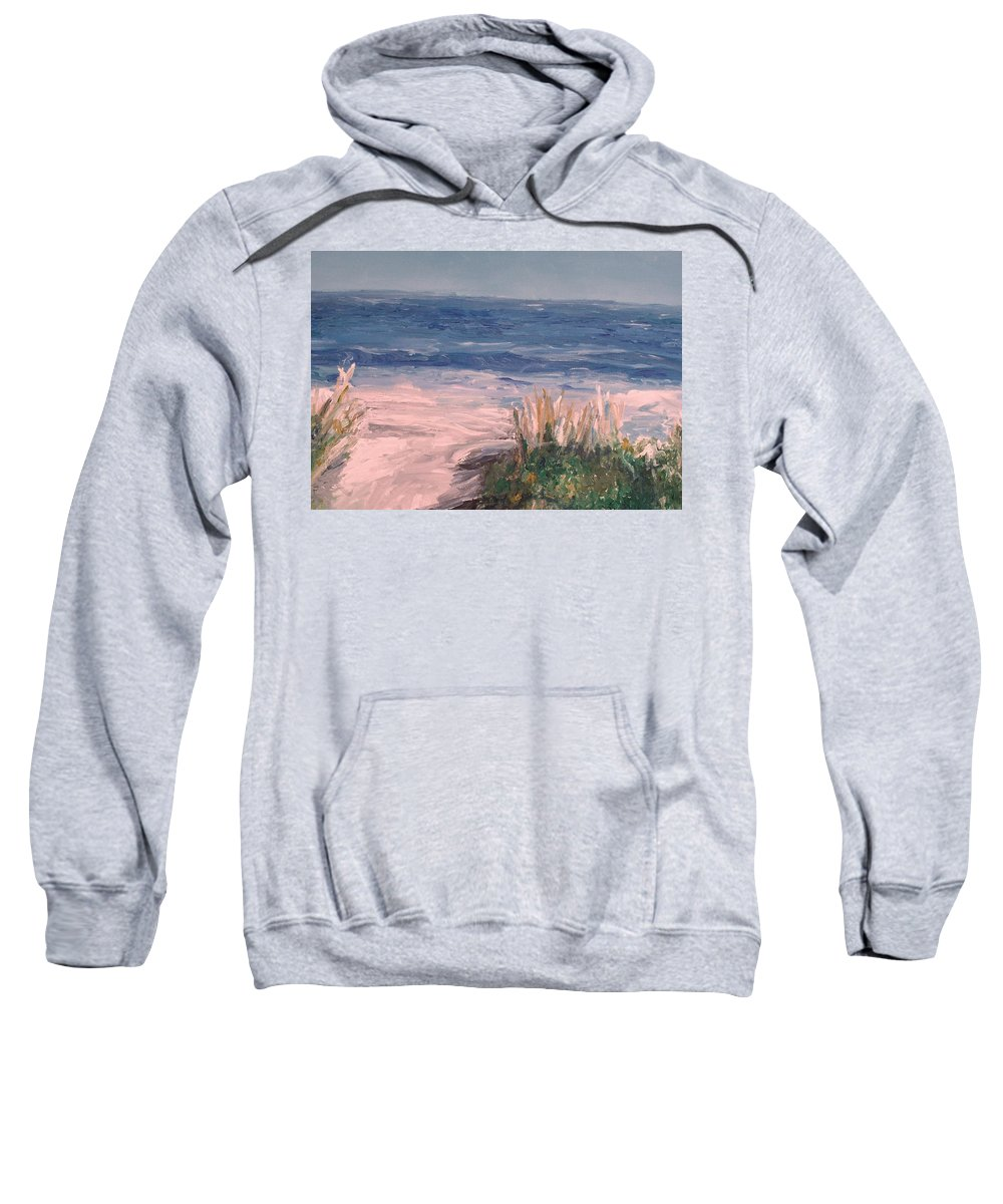 Ocean Sweatshirt featuring the painting Down The Shore by Eric Schiabor