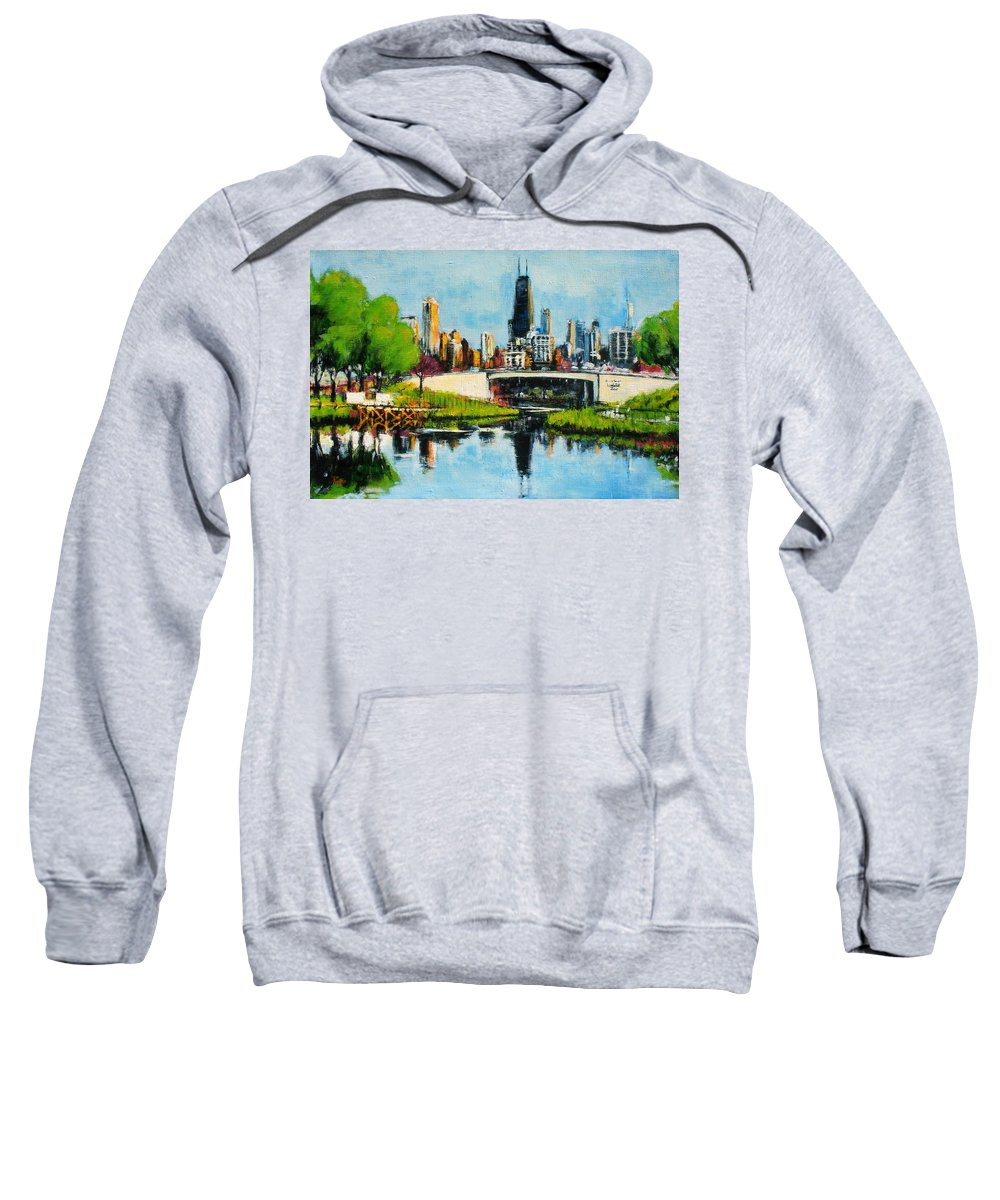 Robert Reeves Sweatshirt featuring the painting Downtown Chicago From Lincoln Park by Robert Reeves