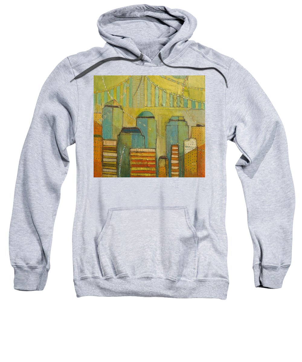 Sweatshirt featuring the painting Downtown Manhattan by Habib Ayat